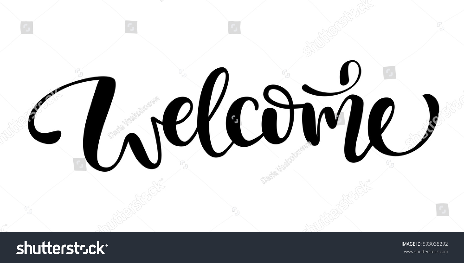 Welcome Lettering Sign Stock Vector 593038292 Shutterstock