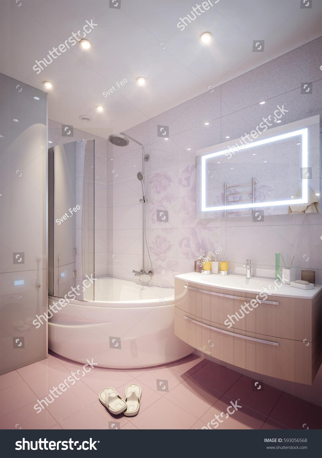 Royalty Free Stock Illustration of Modern Bathroom Interior Pink ...