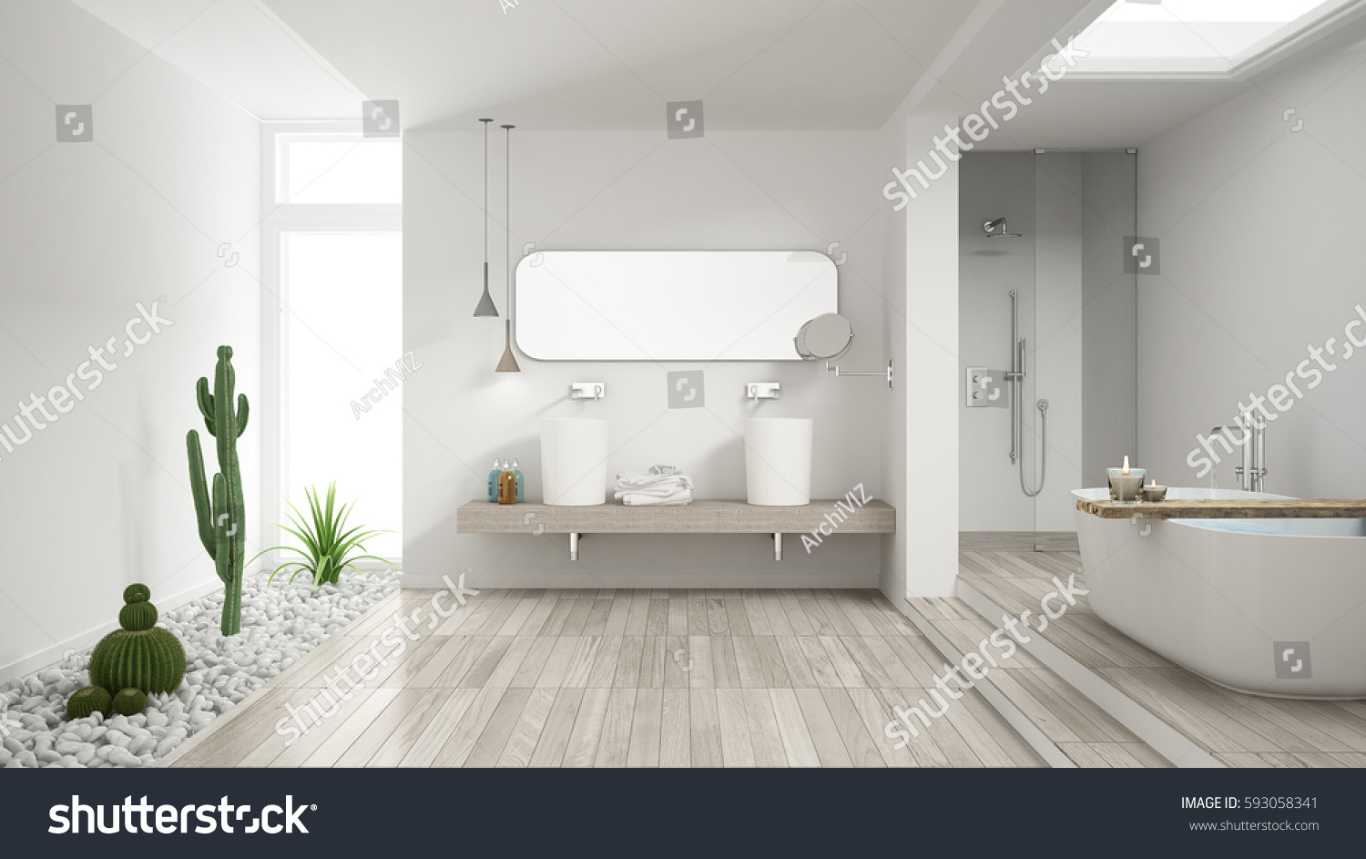 Minimalist White Bathroom Succulent Garden Wooden Stock Illustration ...