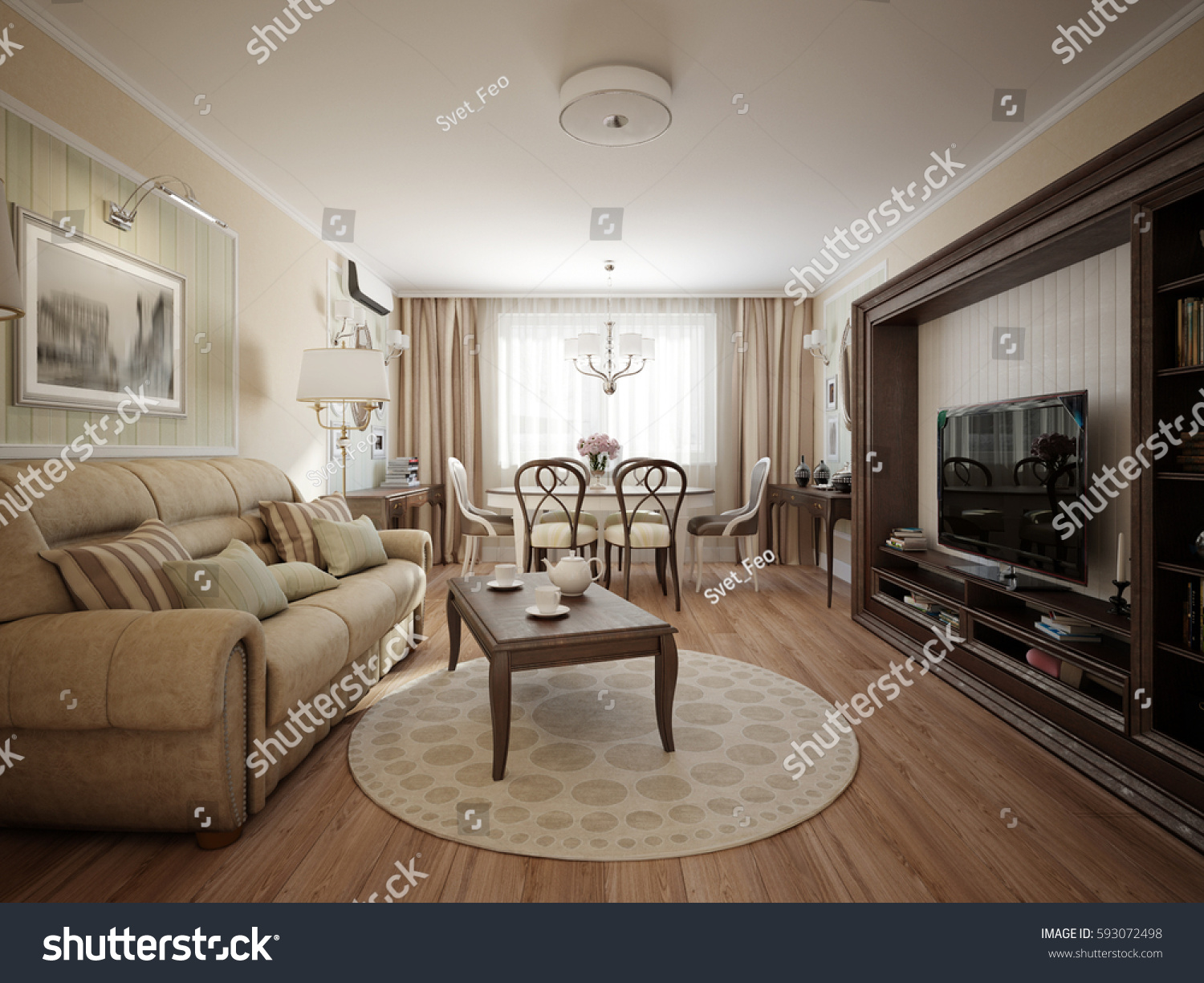 modern classic living room. Modern classic living room and dining interior design  3d rendering Classic Living Room Dining Stock Illustration