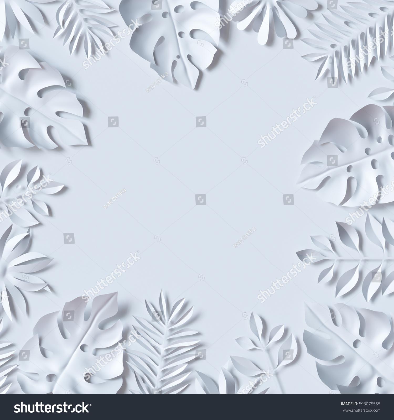 3d Render Tropical Paper Leaves Jungle Stock Illustration