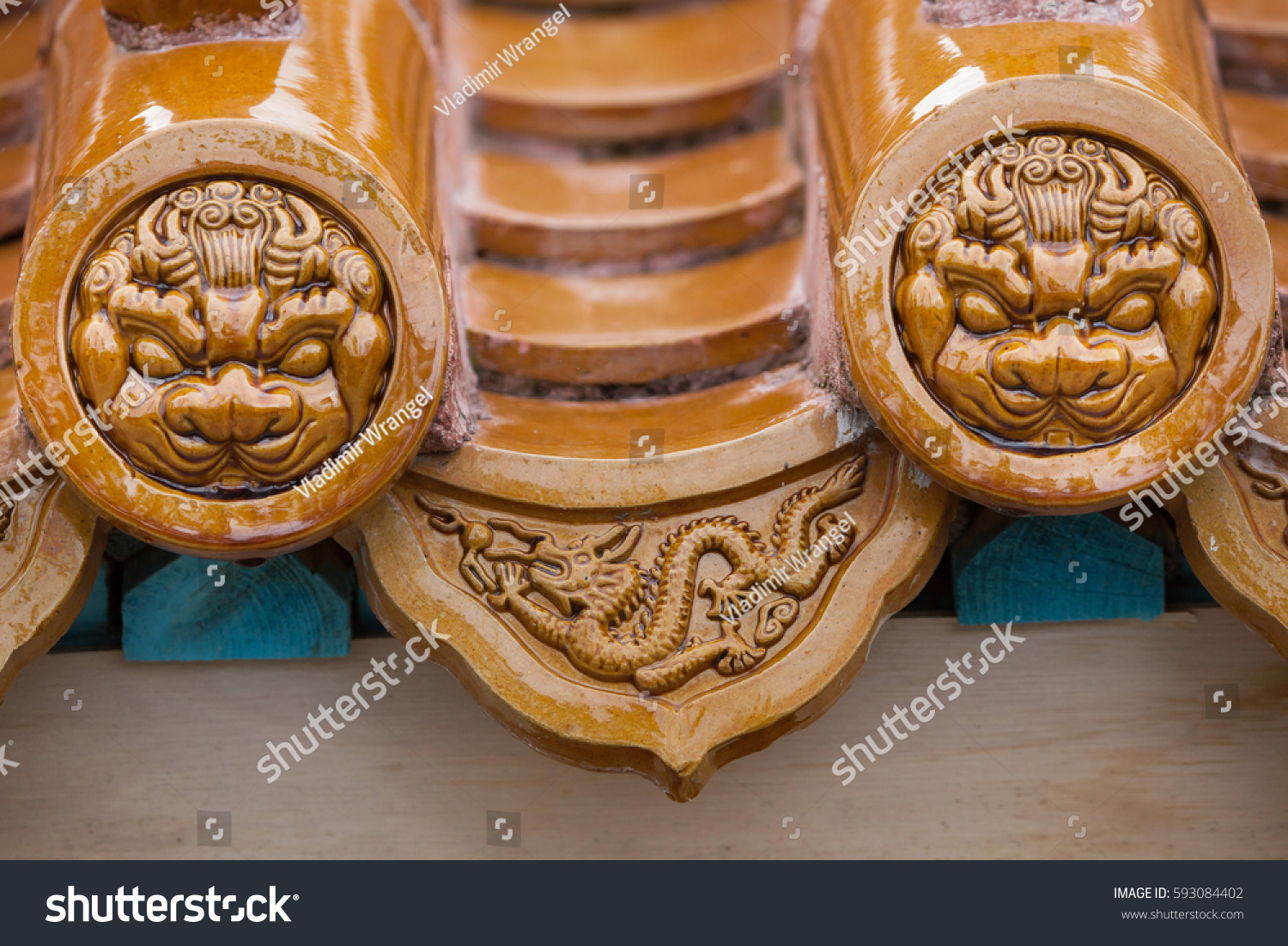 Traditional Chinese Glazed Roof Tiles Buildings Landmarks Stock Image 593084402