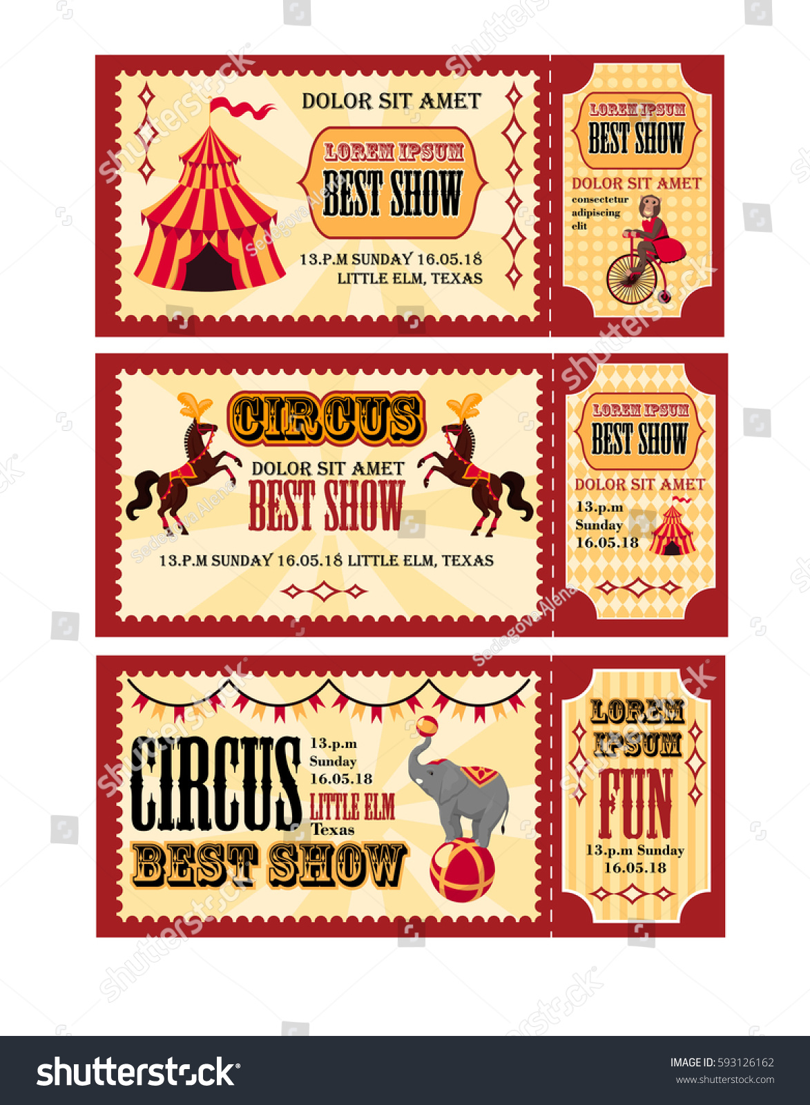 Circus Tickets Design Tent Circus Horses Stock-Vektorgrafik ...
