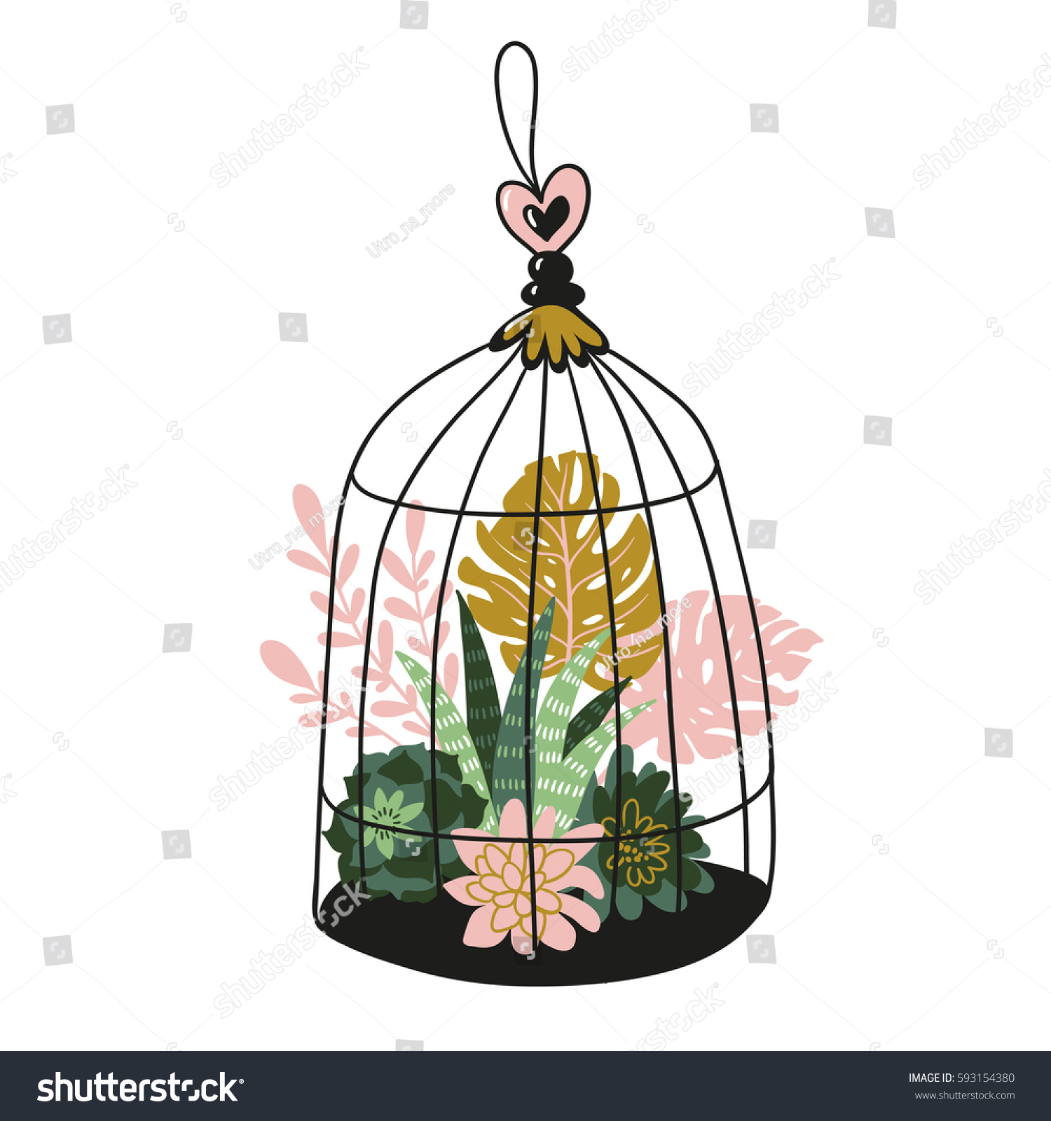 hand drawn contained tropical house plants stock vector 593154380