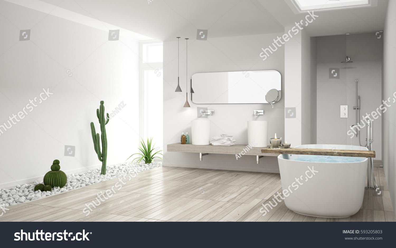Minimalist White Bathroom Succulent Garden Wooden Stock Illustration ...