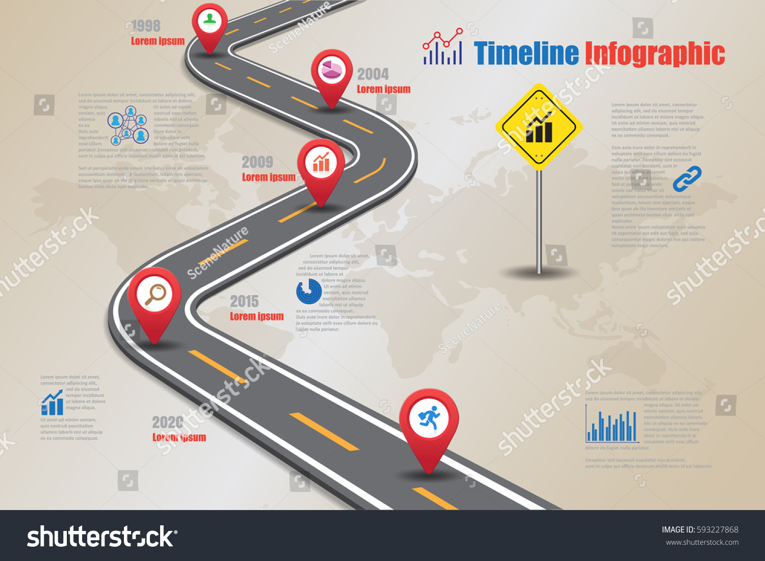 Design Template Road Map Timeline Infographic Stock Vector 593227868
