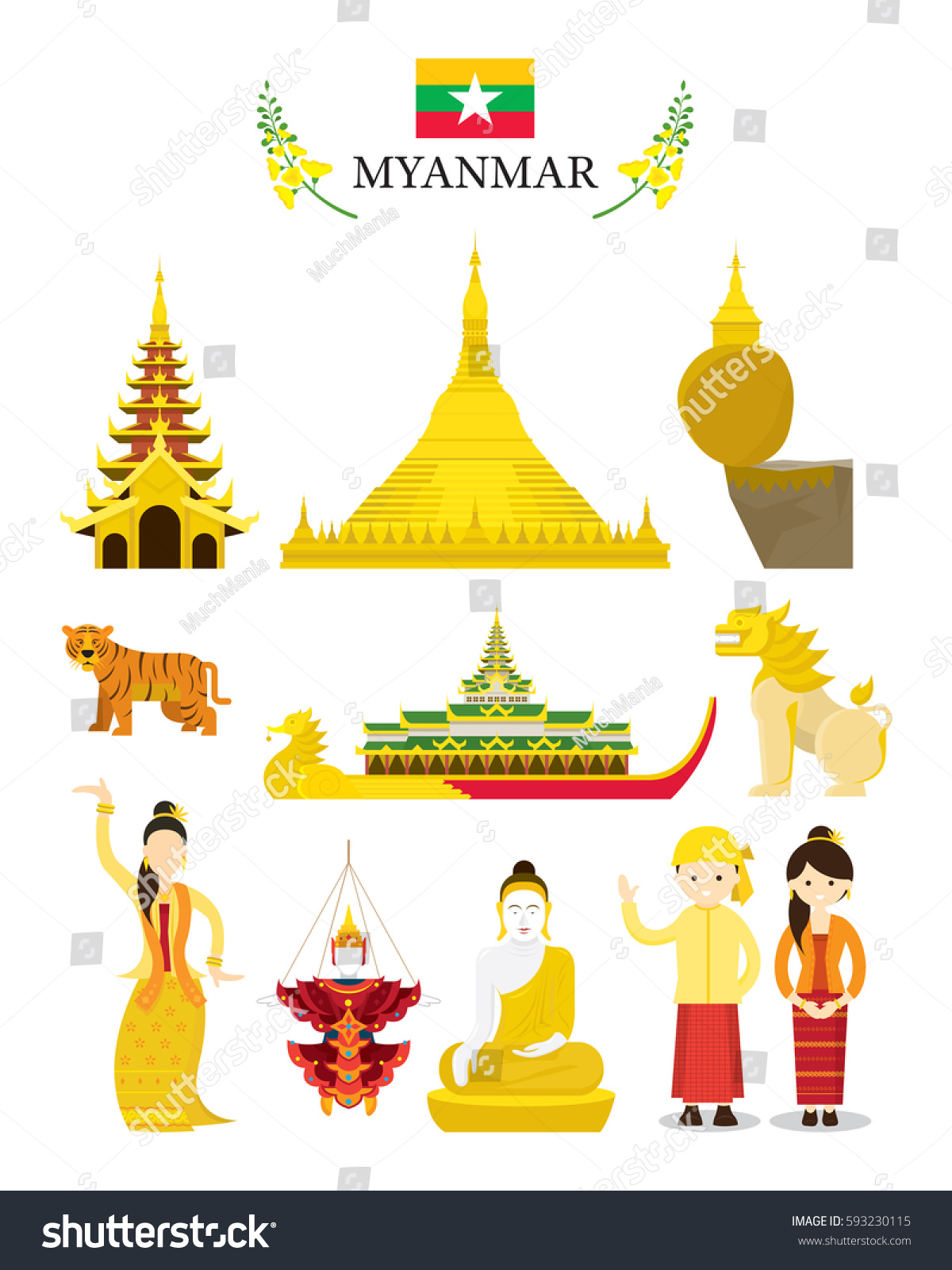 Myanmar Landmarks Culture Object Set National Stock Vector Royalty