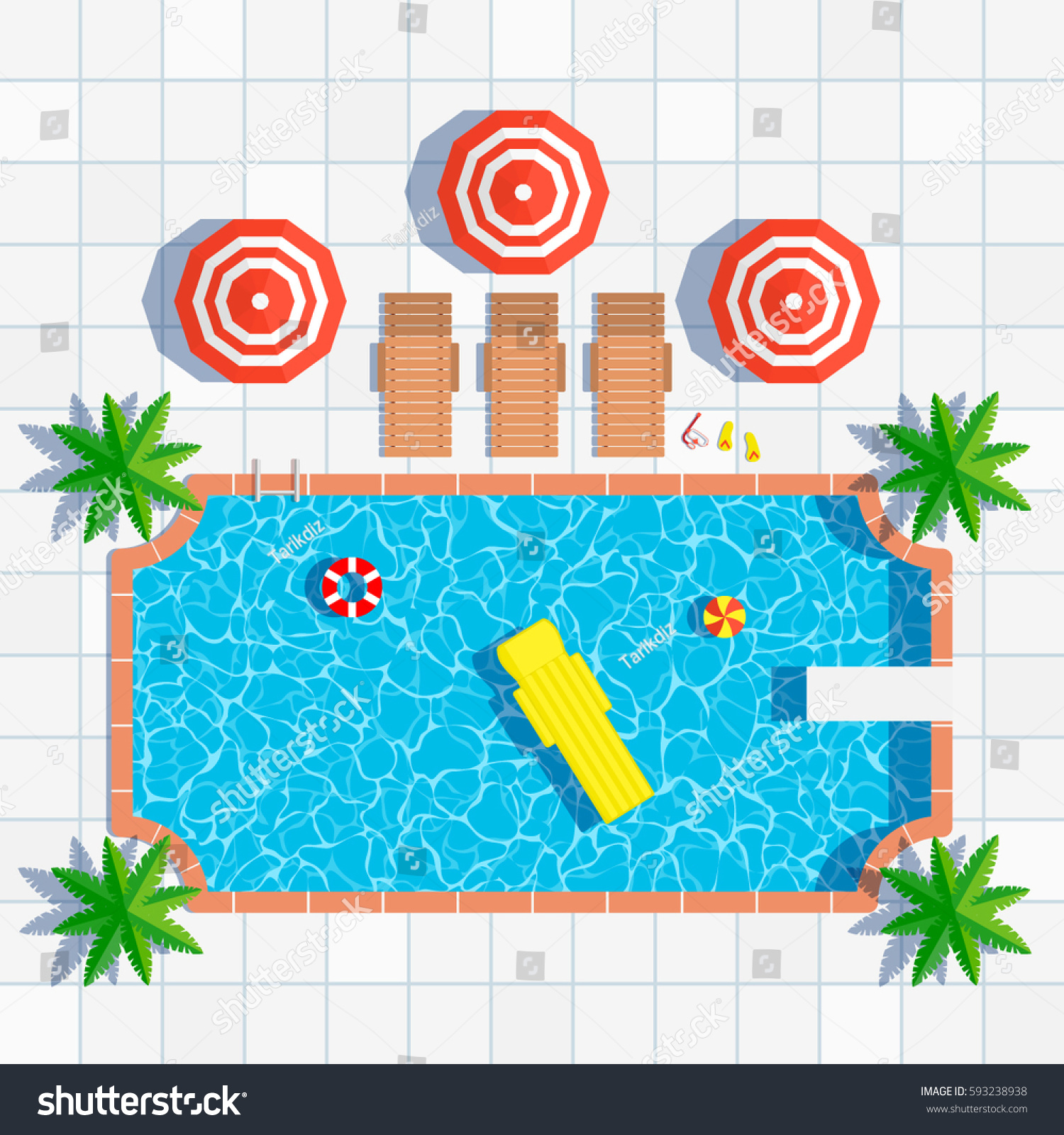 Swimming Pool Top View Umbrellas Palm Stock Vector