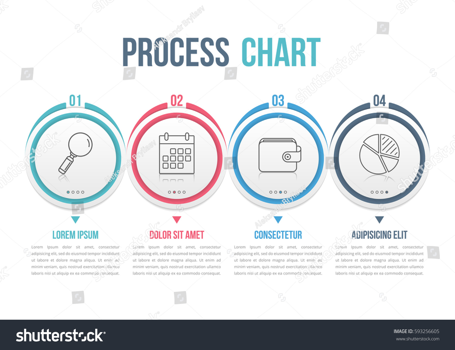 process diagram template circles flowchart workflow のベクター画像