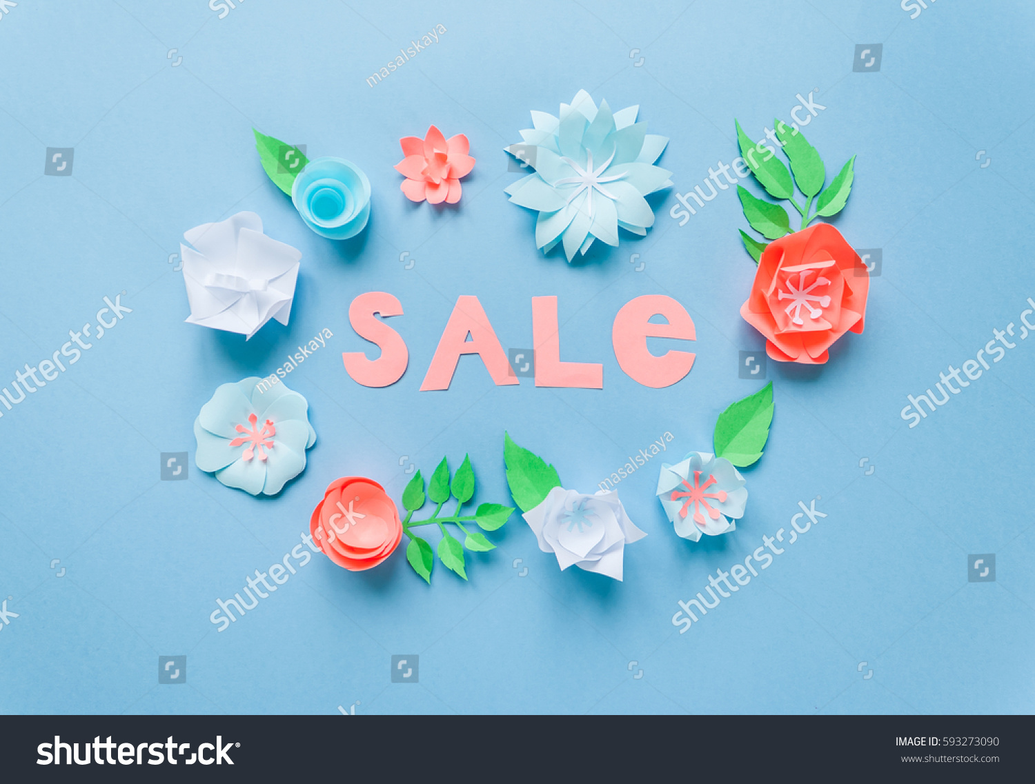 Sale frame color paper flowers on stock photo edit now 593273090 sale frame with color paper flowers on the blue background flat lay nature concept mightylinksfo