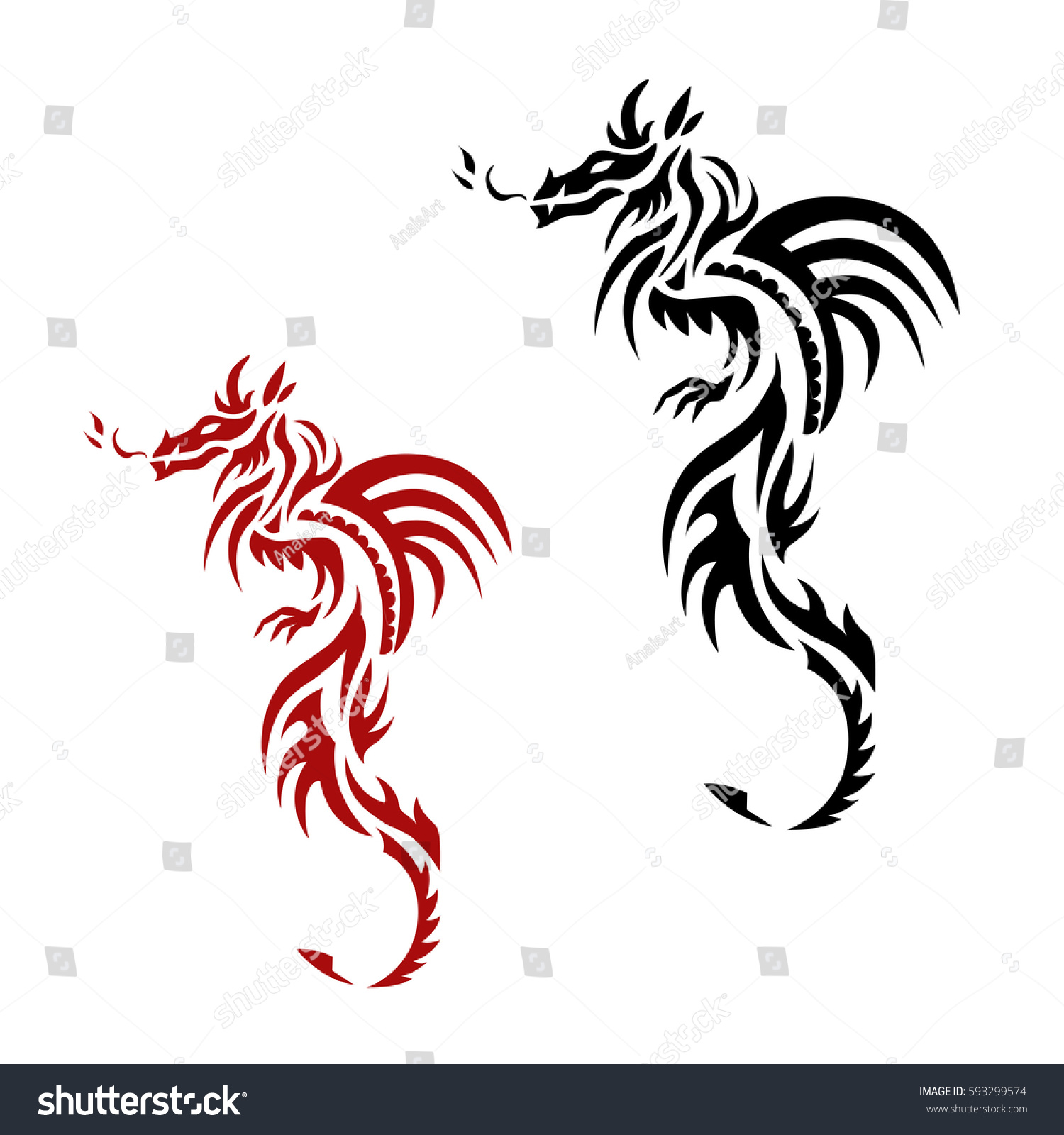 Set red black dragon tattoo traditional stock vector 593299574 set of red and black dragon tattoo traditional chinese asian style the symbol of wealth buycottarizona Images