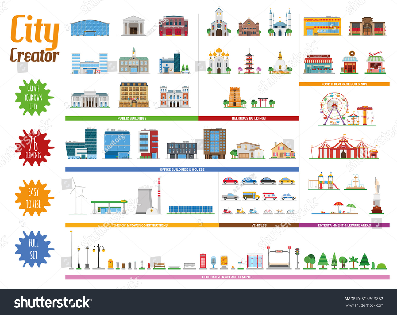 City Creator Full Collection 76 Elements Stock Vector