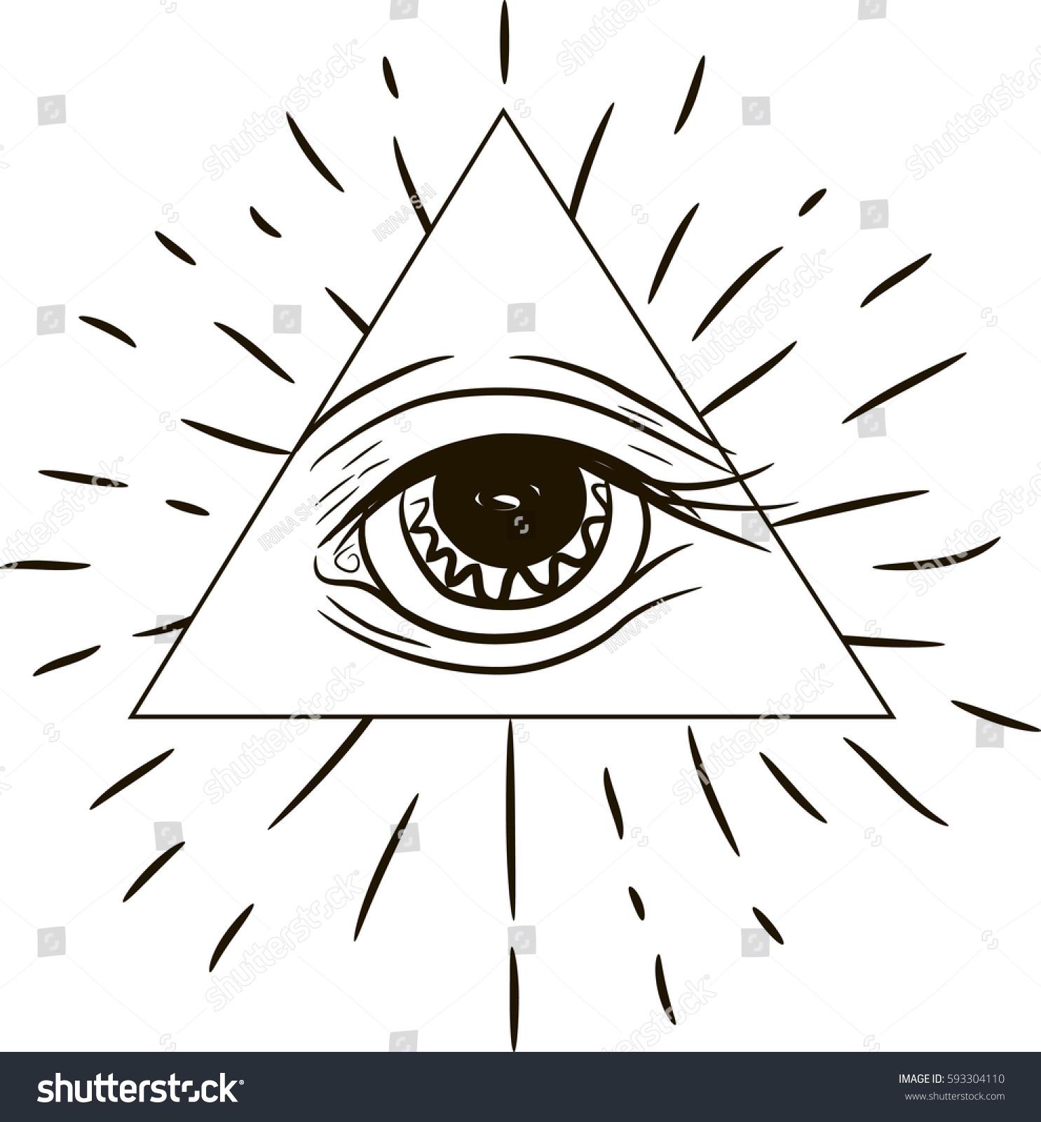 Eye providence masonic symbol all seeing stock vector 593304110 masonic symbol all seeing eye inside triangle pyramid new world buycottarizona Images