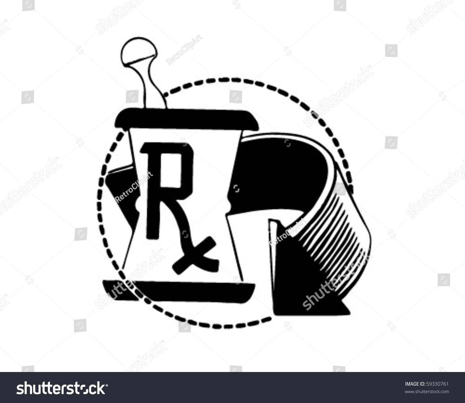 Rx Mortar With Curved Arrow - Retro Clip Art Stock Vector ...