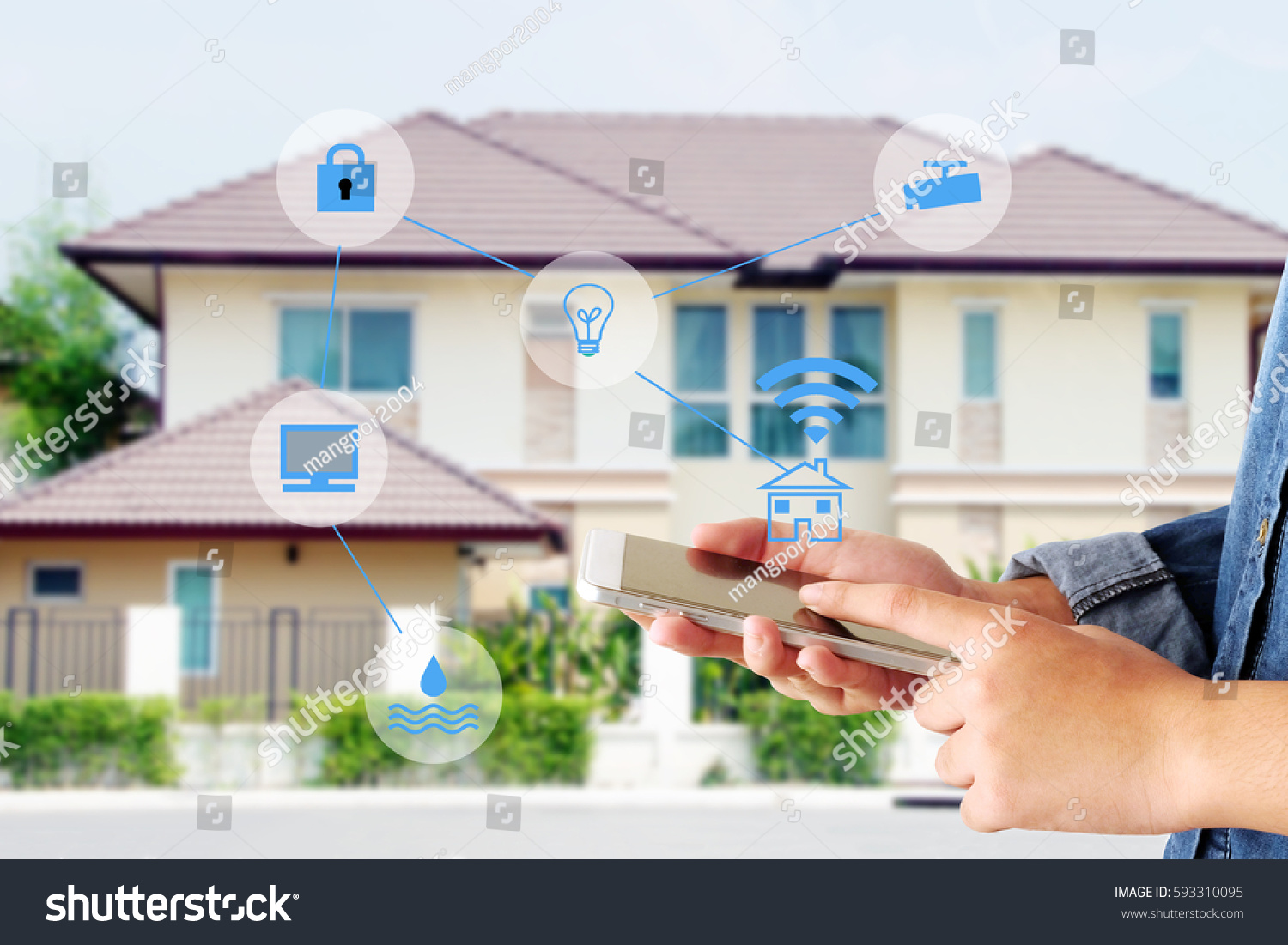 Smart home secured automation with wifi technology, Hand using smartphone as house mobile monitor such as camera, computer, door and light, internet of things, people and smart home concept  #593310095