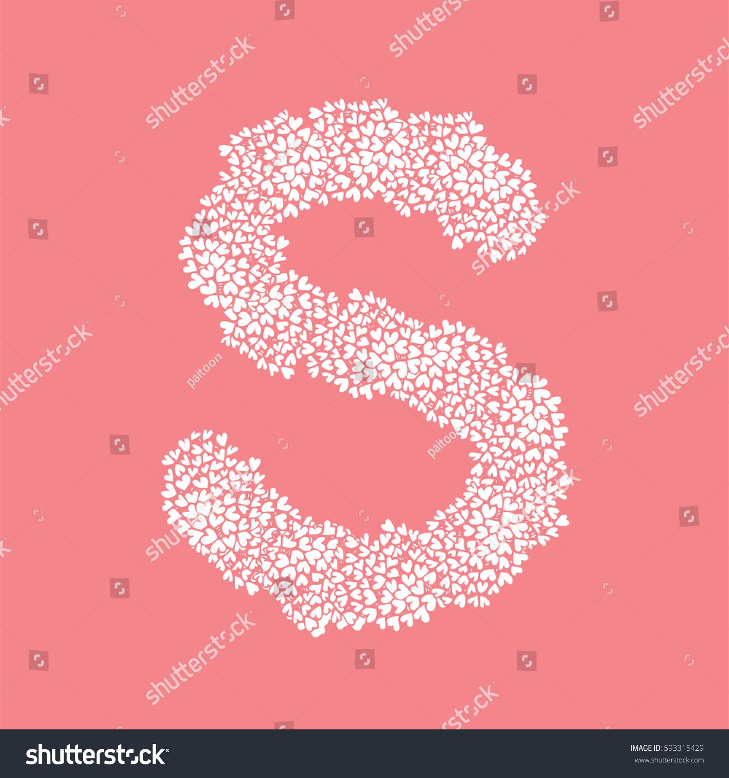 Letter S Alphabet Heart Flower Bush Stock Vector (Royalty Free ...