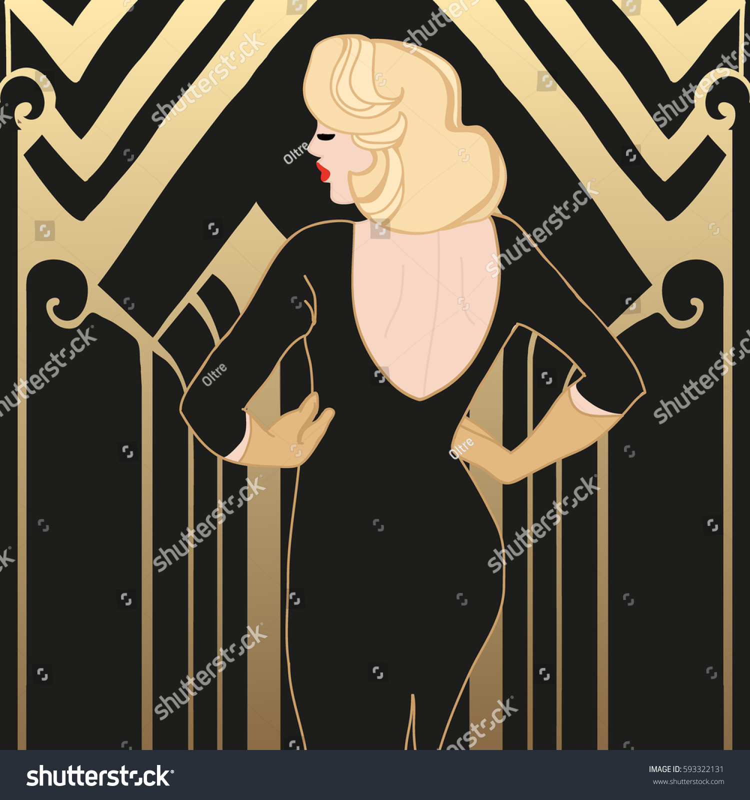 flapper girl pretty woman great gatsby stock vector. Black Bedroom Furniture Sets. Home Design Ideas