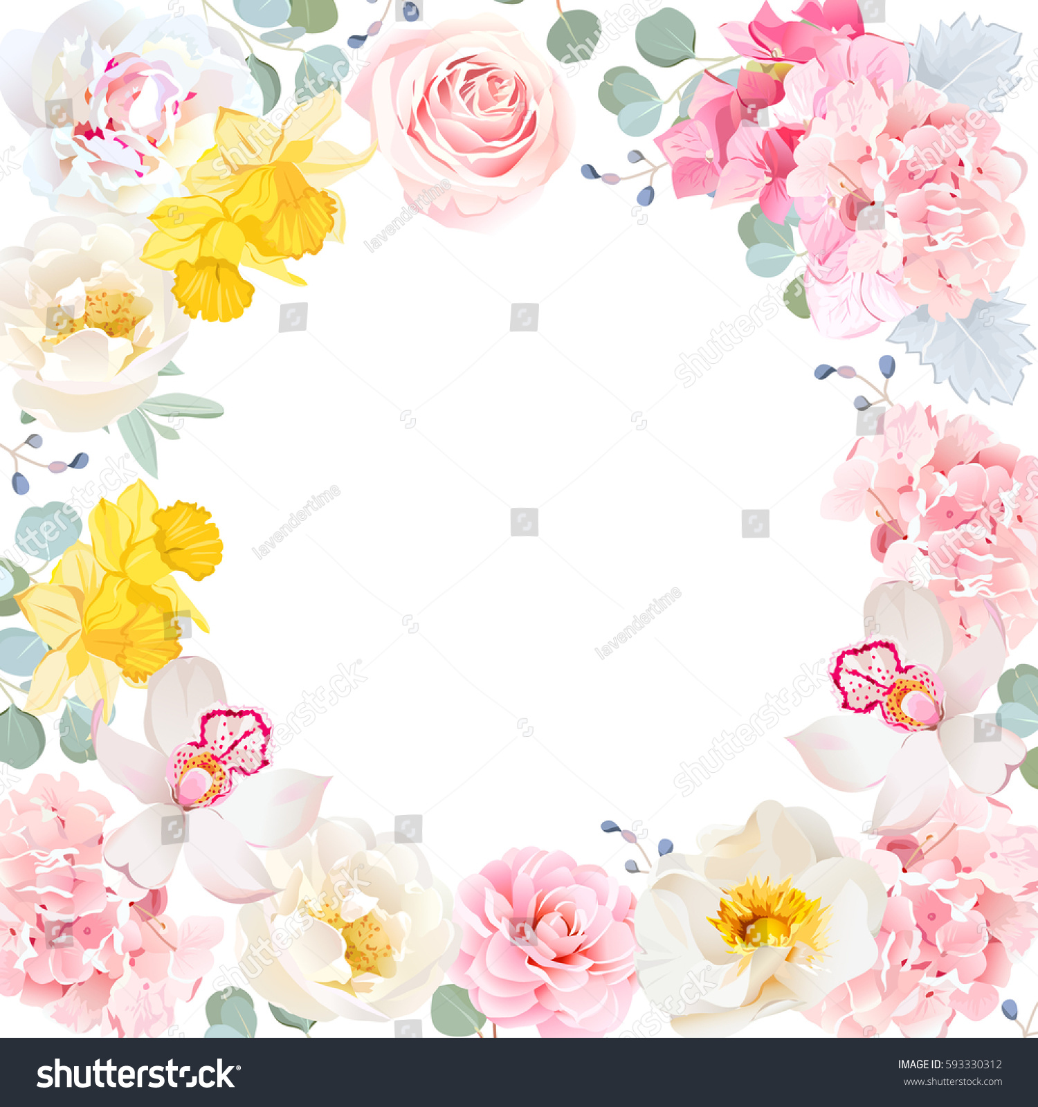 Vector round frame with pink flowers on white background in pastel - Floral Vector Round Frame With Pink Rose Hydrangea Carnation Daffodils Peony