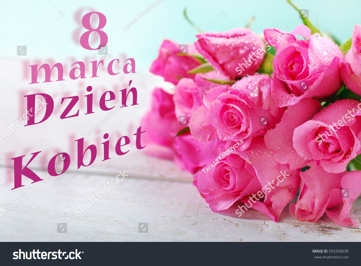 Bunch Pink Roses Lying On Right Stock Photo Edit Now 593339630