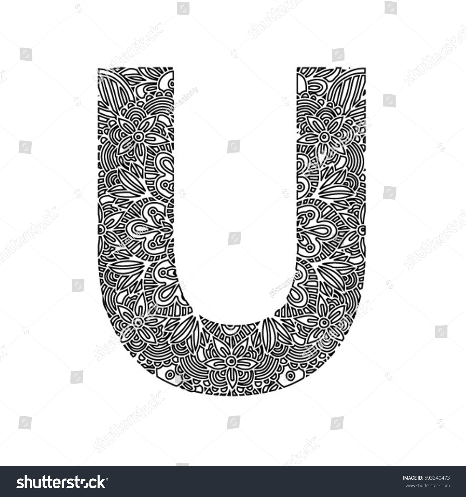 Decorative Hand Made Font Ornamental Font Stock Vector