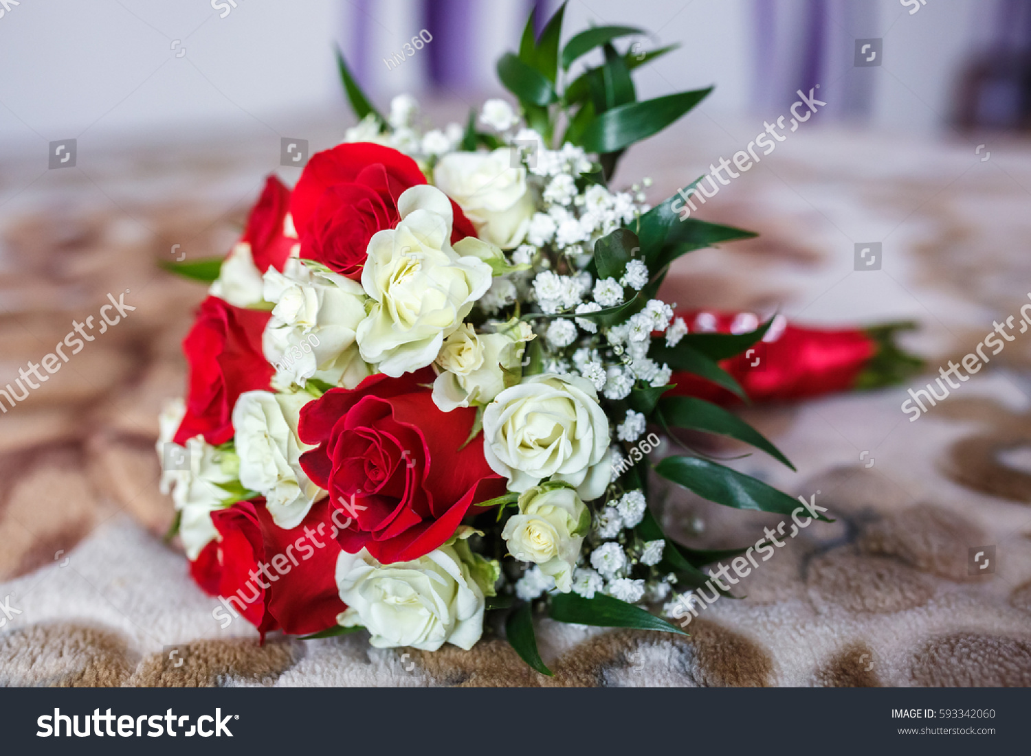 Top View Of Luxury Bouquet Of Red And White Flowers Top View With