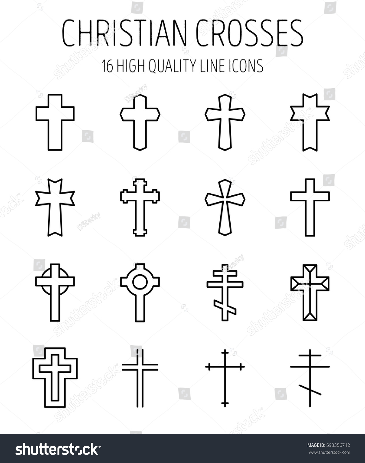 Set Christian Cross Modern Thin Line Stock Vector Royalty Free