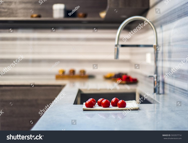 Kitchen Counter Tops Granite Marble Quartz Stock Photo