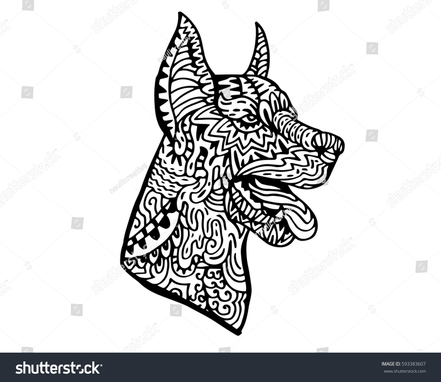 Stock vector ethnic animal doodle detail pattern killer whale - Ethnic Detail Zen Tangle Dog Doodle Illustration For Coloring Book Tattoo Sticker Shirt