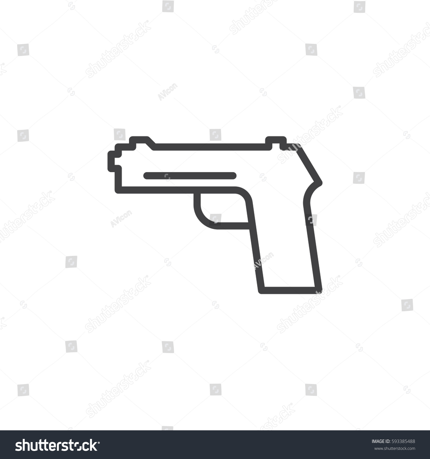 Gun pistol handgun line icon outline stock vector 593385488 gun pistol handgun line icon outline vector sign linear style pictogram isolated biocorpaavc Images