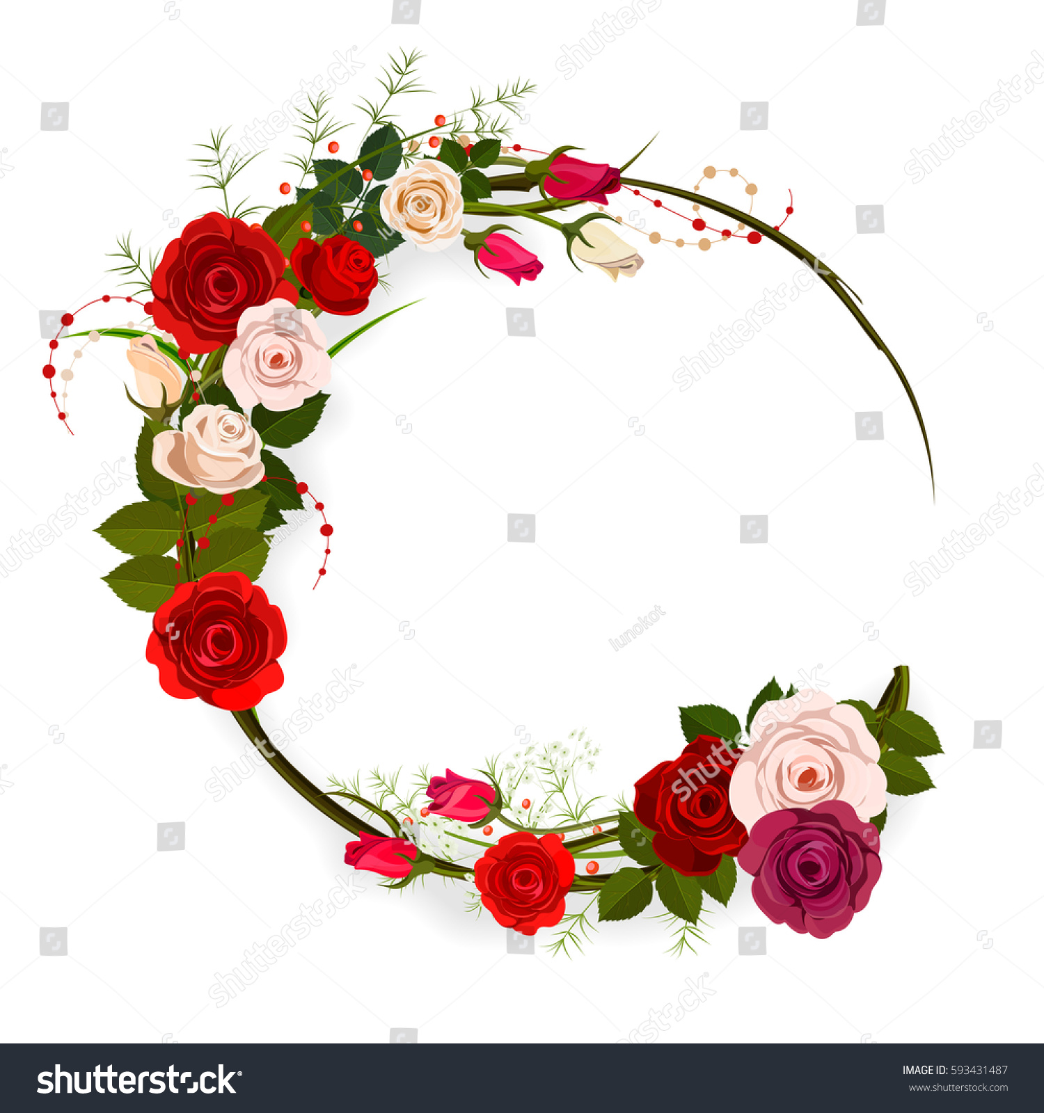 Rose Frame Background Circle Floral Frame Stock Vector Royalty Free
