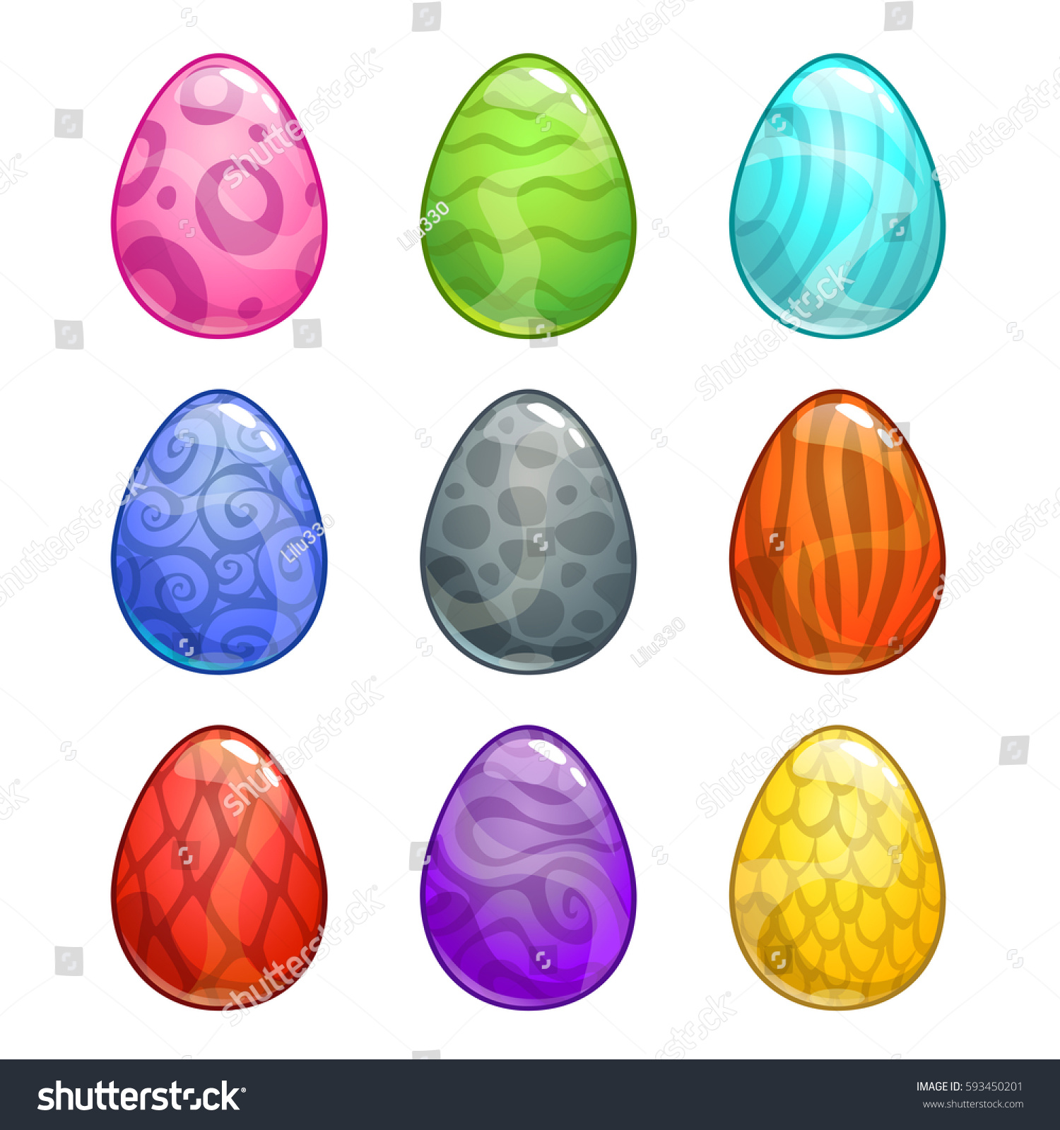 colorful cartoon eggs set vector icons stock vector 593450201