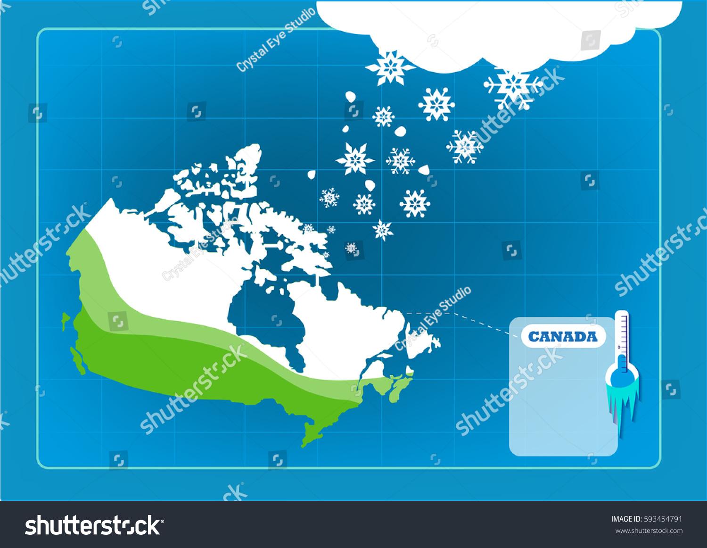 Snowfall Snow Storm On Canadian Map Stock Vector 593454791