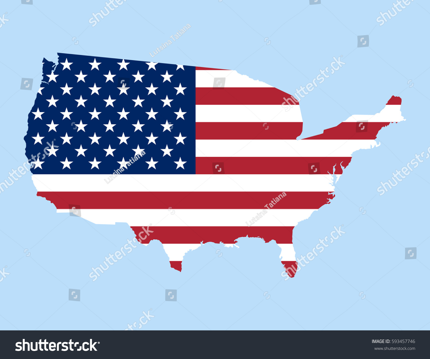United States Vector Map Flag Inside Stock Vector 593457746