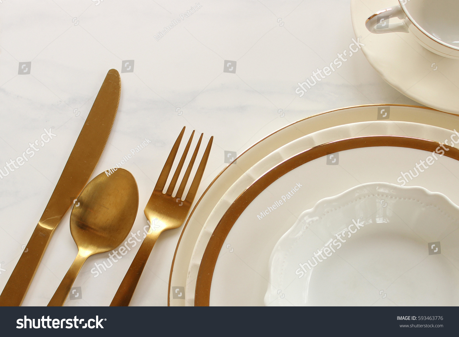 Table Setting Background elegant white gold table setting against stock photo 593463776