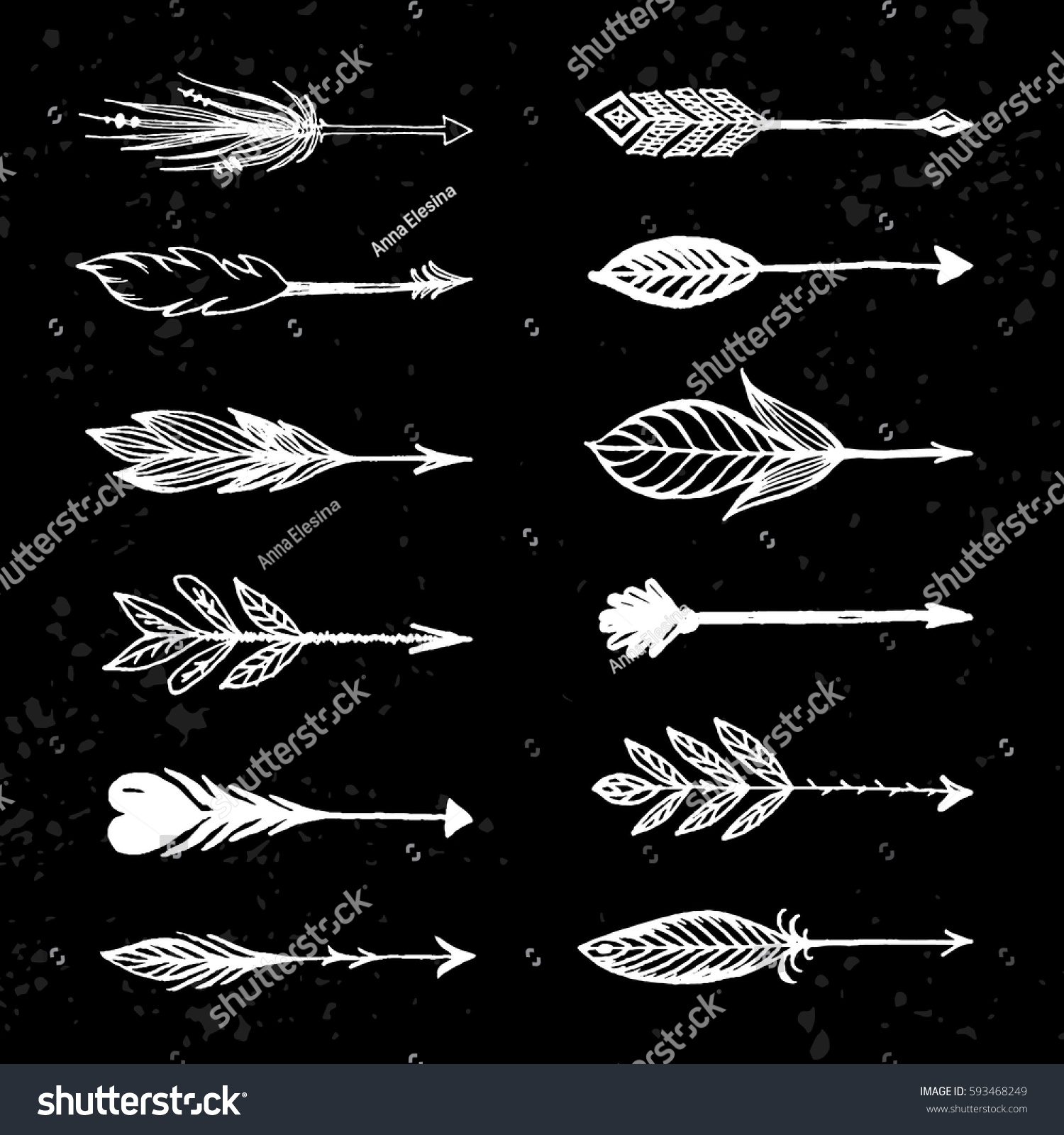 arrows native american indian style set stock vector