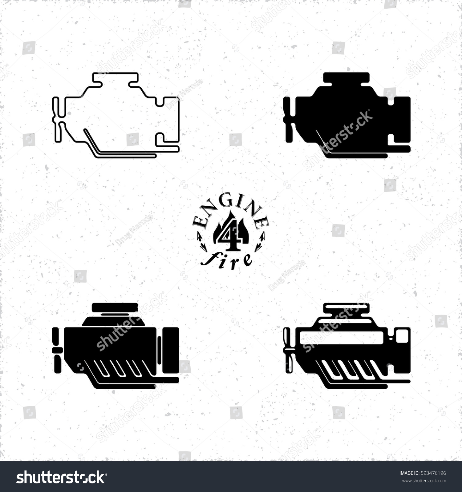 Internal Combustion Engine Car Motor 4 Stock Vector Royalty Free Simple Diagram Or Icons Set In Four Different Graphic Styles Black