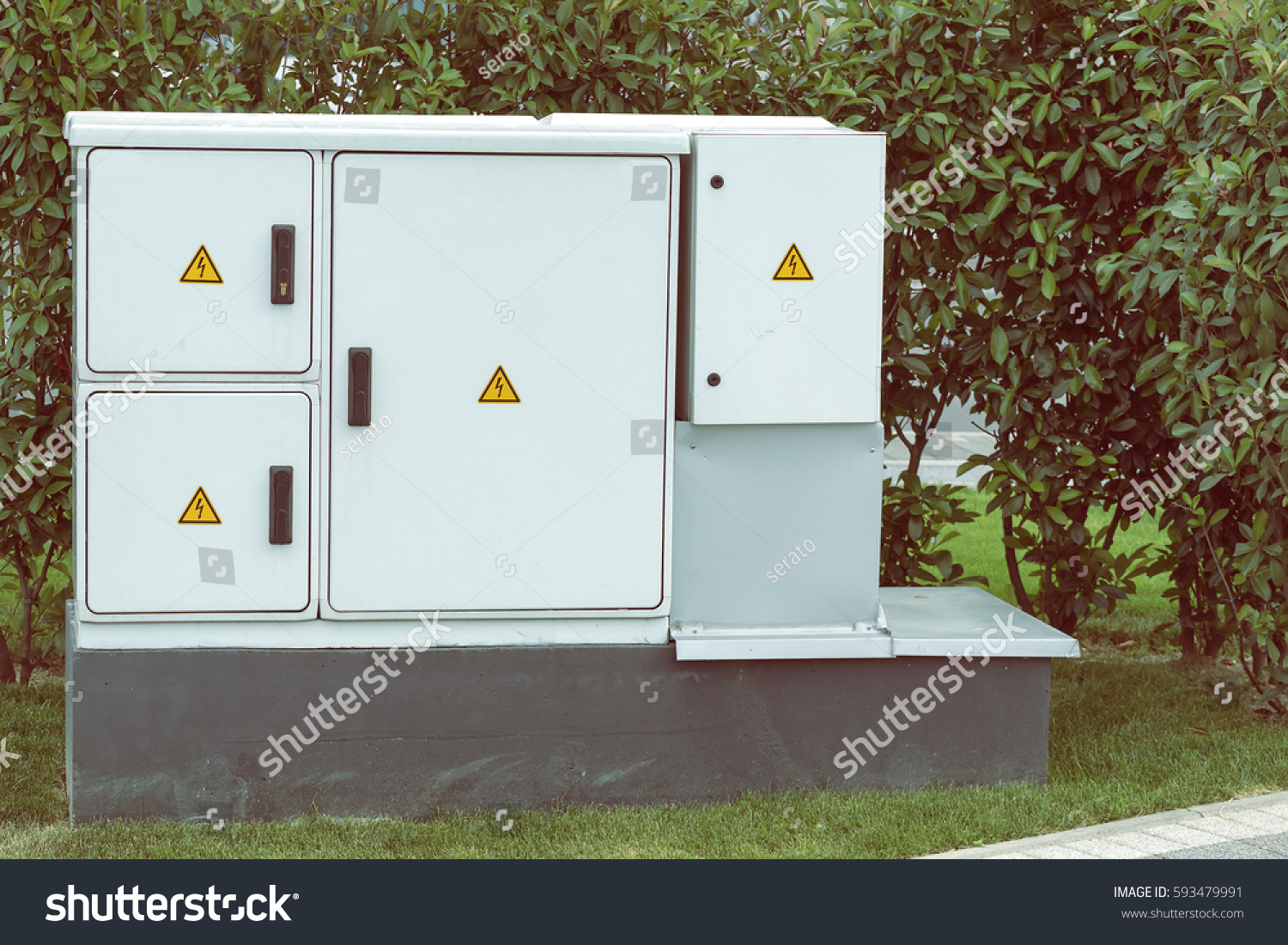 Outdoor Plastic Electrical Cabinet Warning Signs Stock Photo ...