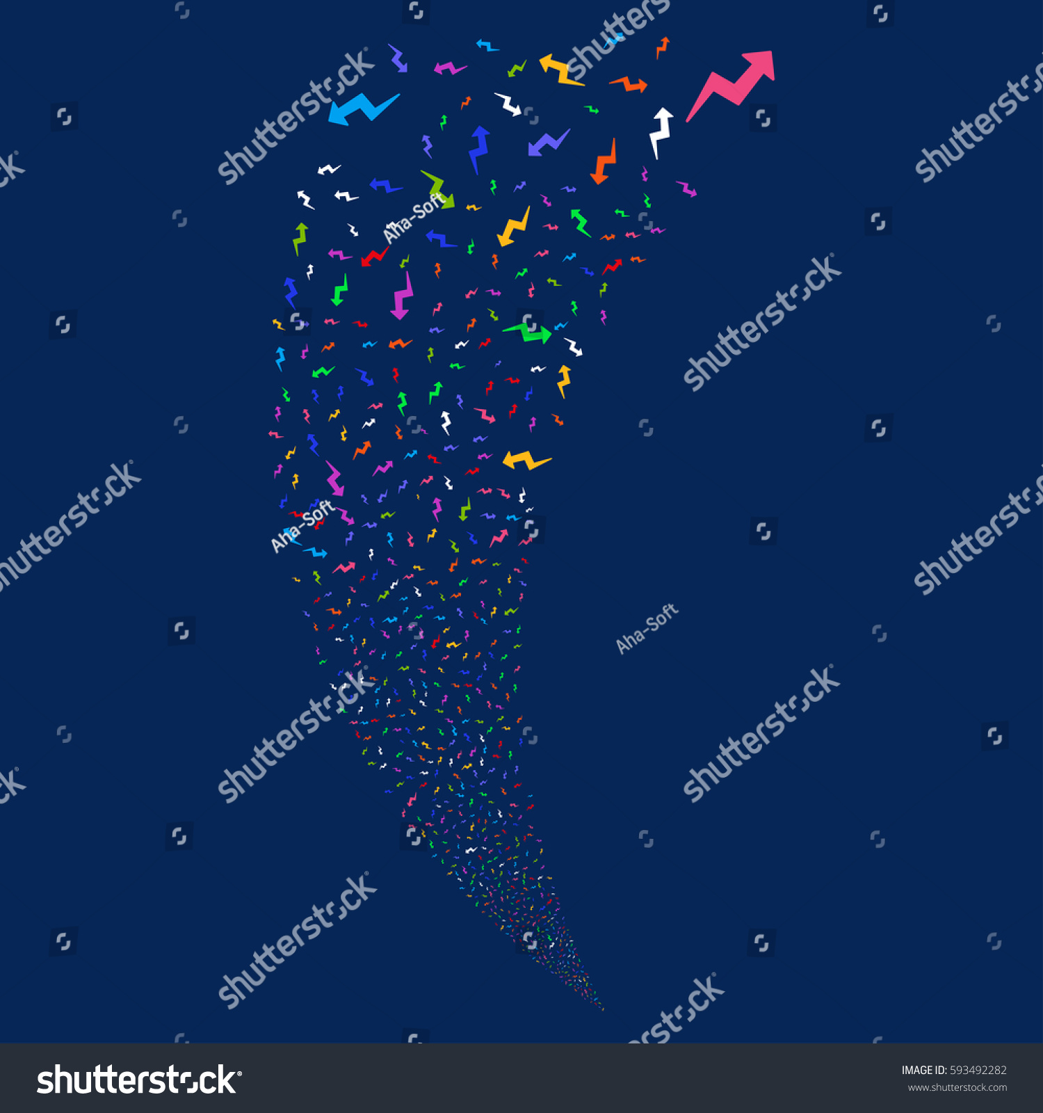 Trend Random Fireworks Stream Vector Illustration Stock