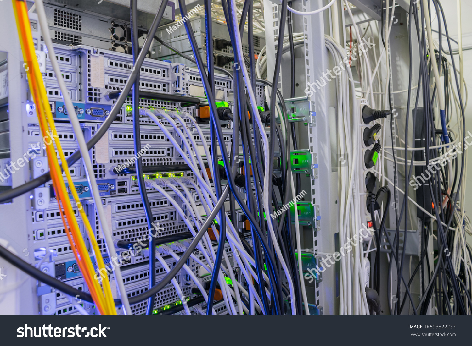 Interweaving Large Number Cables Data Center Stock Photo Edit Now Wiring A Of In Server Room The Rear Panel