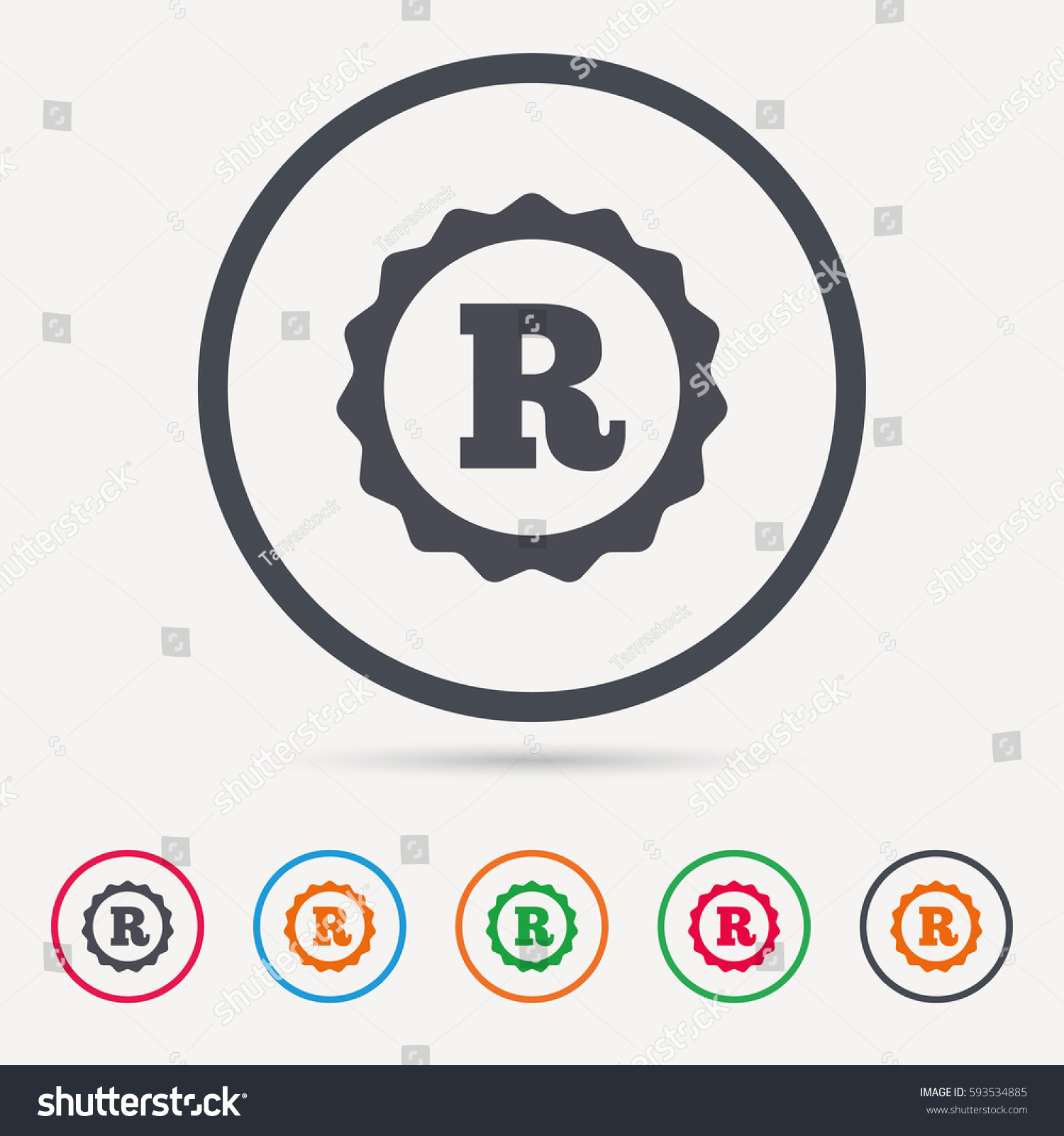 Registered trademark icon intellectual work protection stock vector registered trademark icon intellectual work protection symbol round circle buttons colored flat web biocorpaavc Choice Image