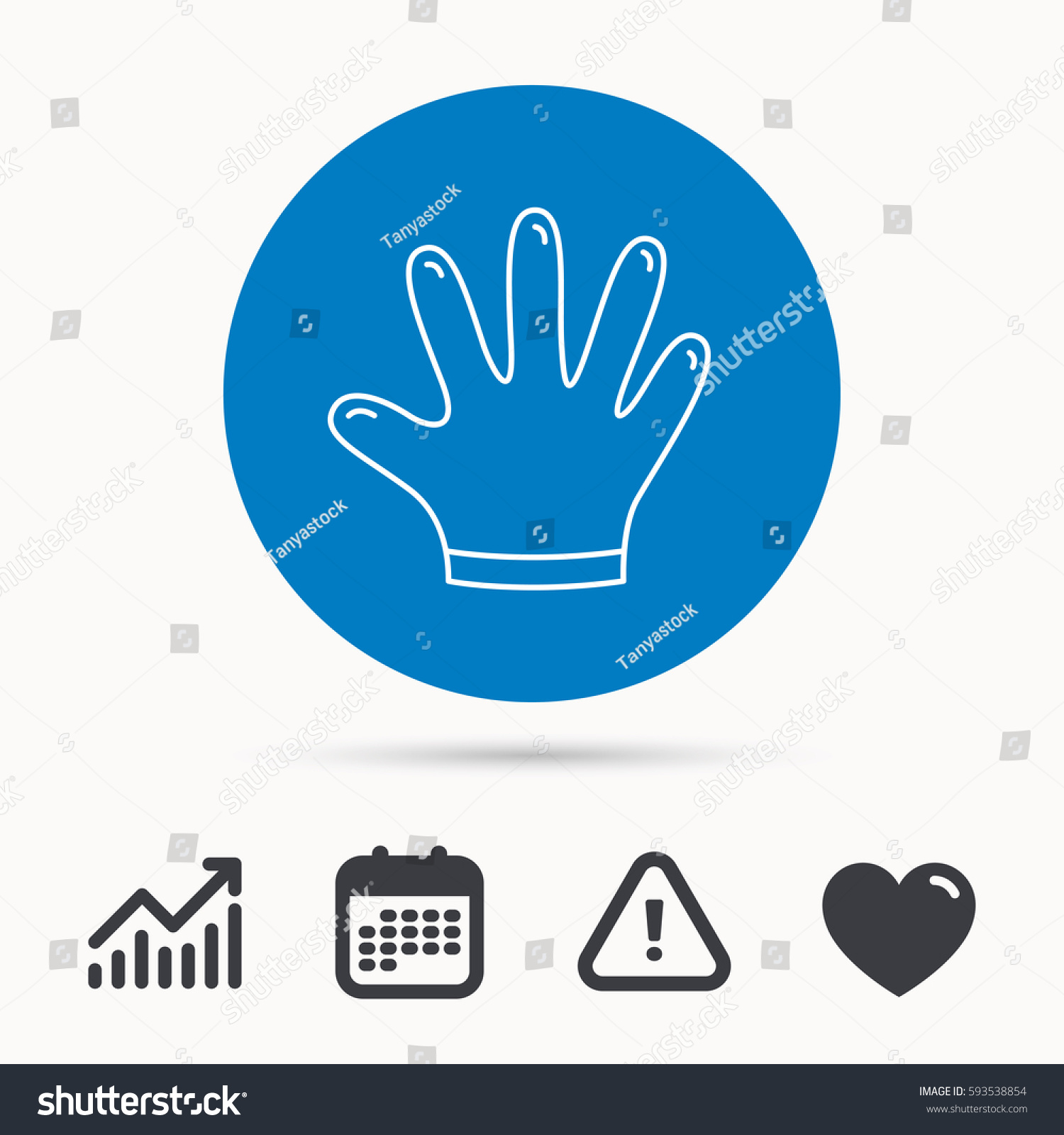 Rubber Gloves Icon Latex Hand Protection Stock Vector 593538854