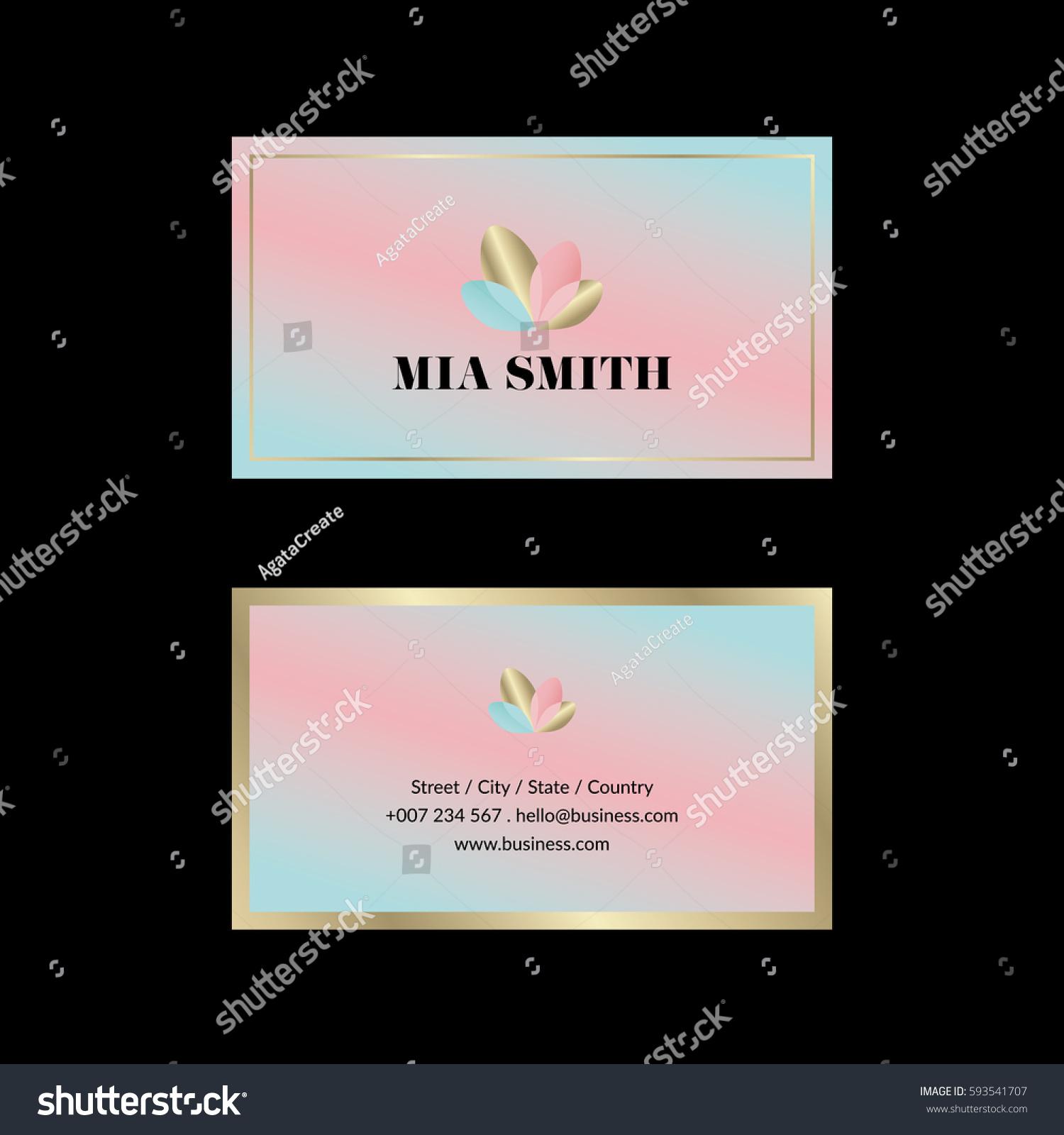 Feminine Business Card Gold Details Stock Vector 593541707 ...