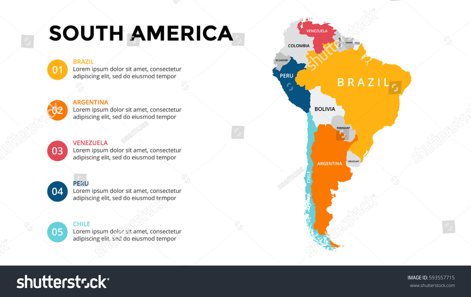 South america map infographic slide presentation stock for What color is south america