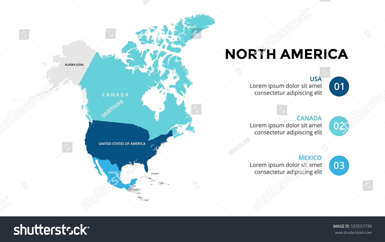 North America Map Infographic Slide Presentation Stock Vector ...