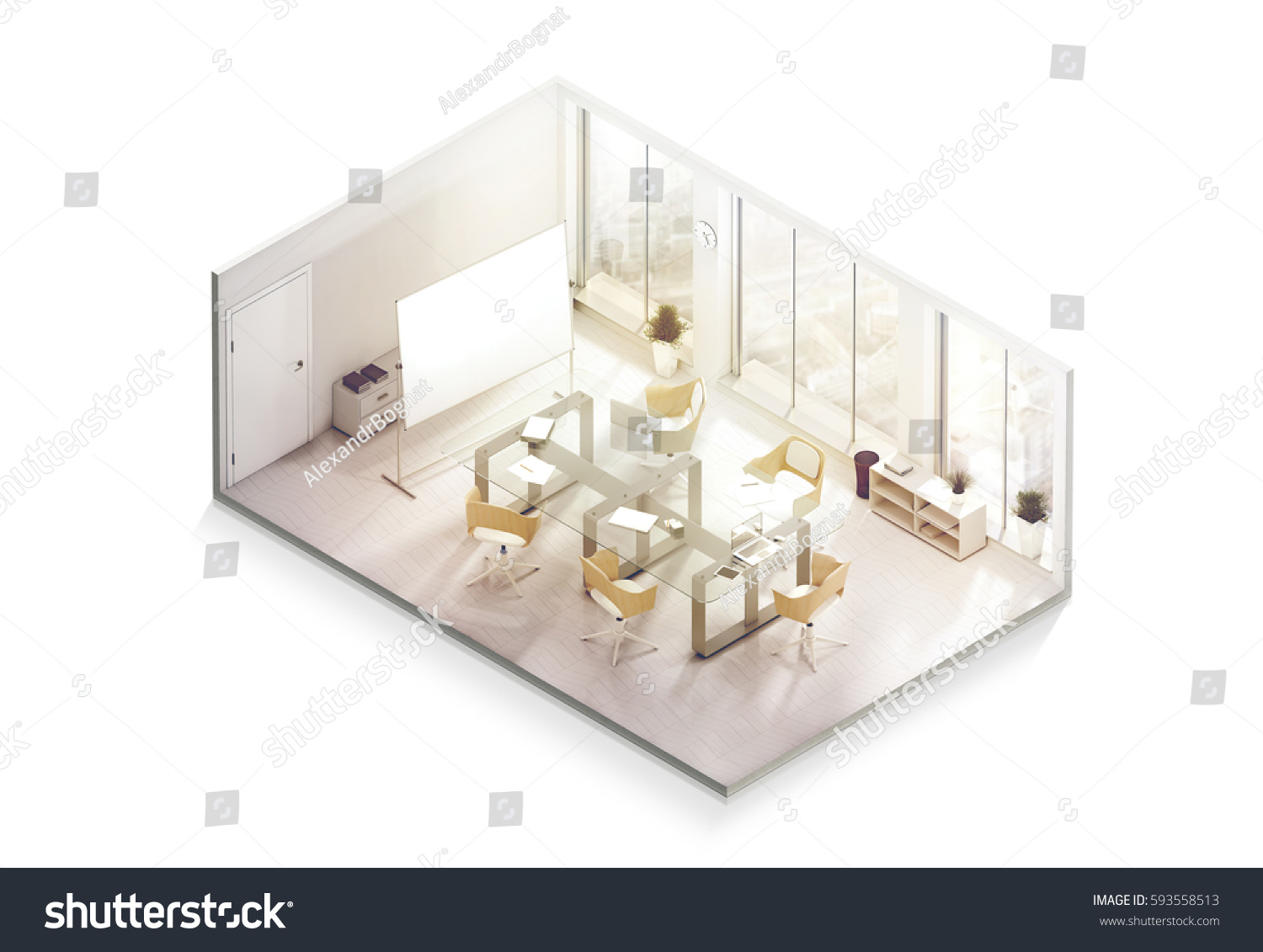 designer office desk isolated objects top view. Office Interior Design Mockup Inside, Isometric View, 3d Rendering. Empty Conference Room Mock Designer Desk Isolated Objects Top View P