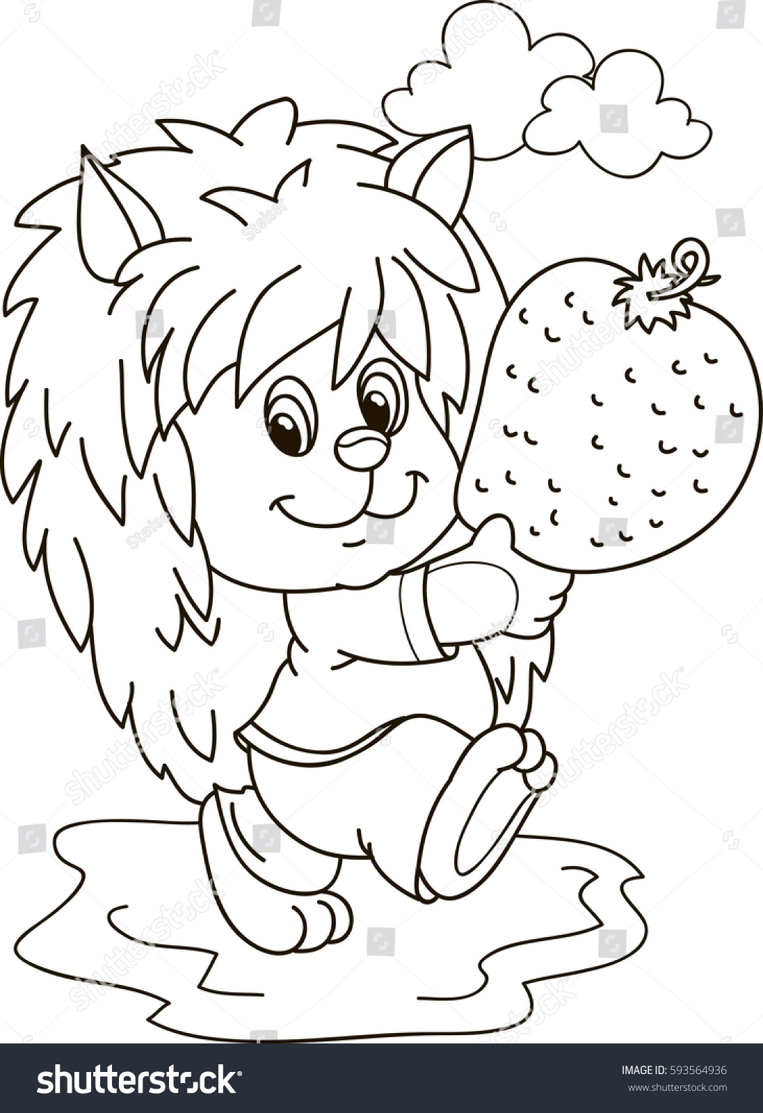 strawberry coloring page with face eliolera com