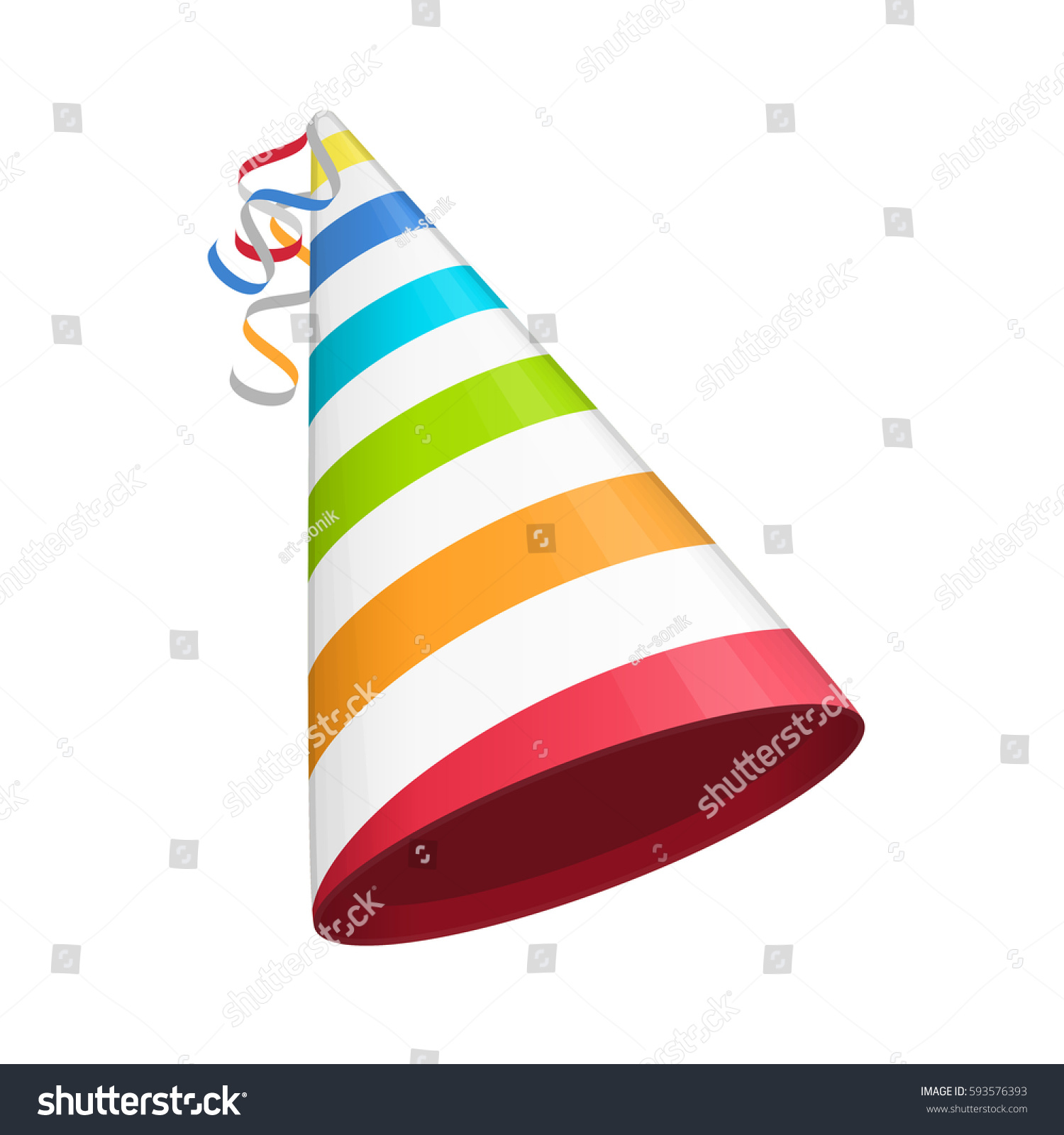 Multicolored Party Hat White Lines Accessory Stock Vector Hd