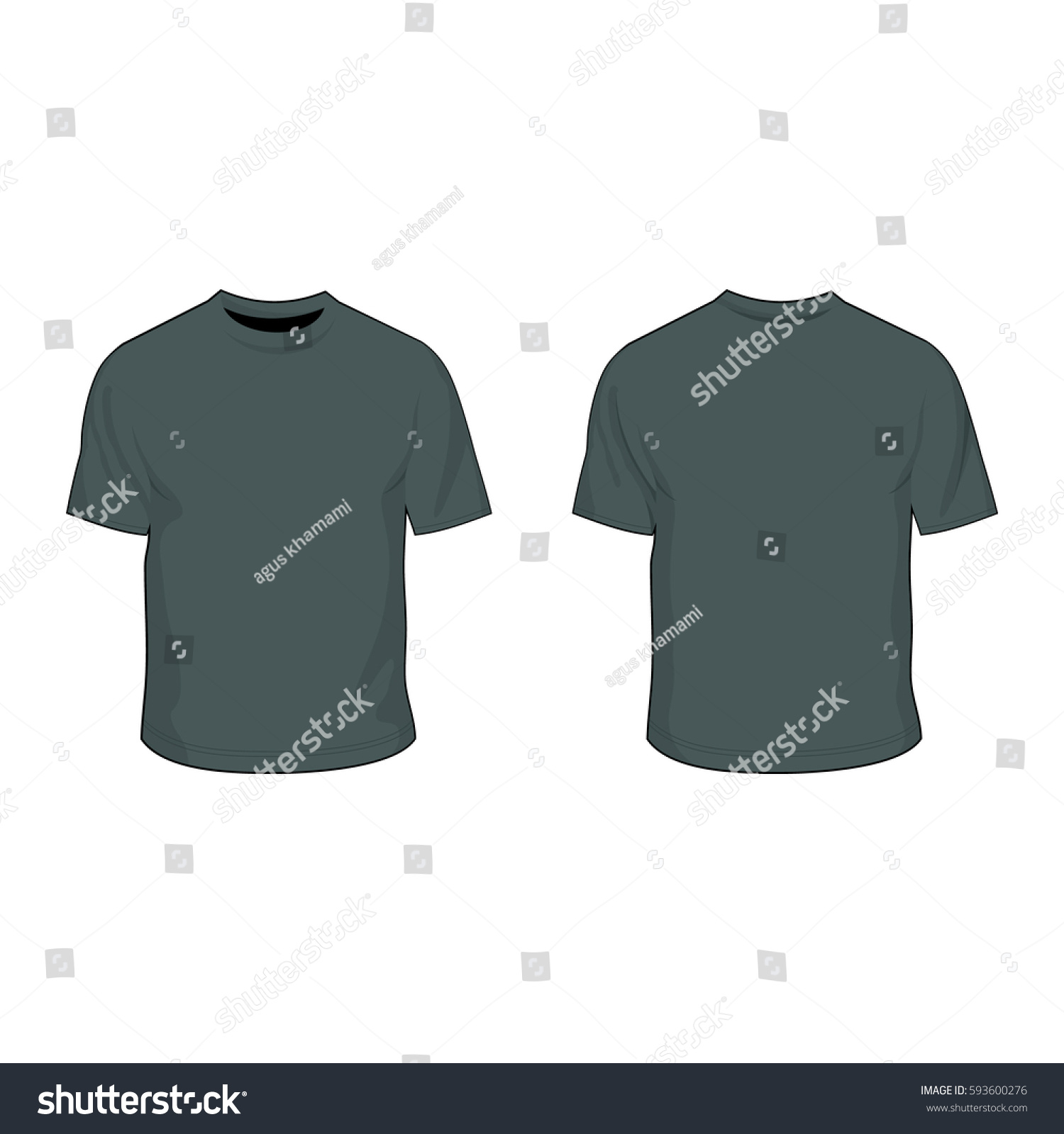 T Shirt Template Charcoal Grey Stock Vector (Royalty Free) 593600276