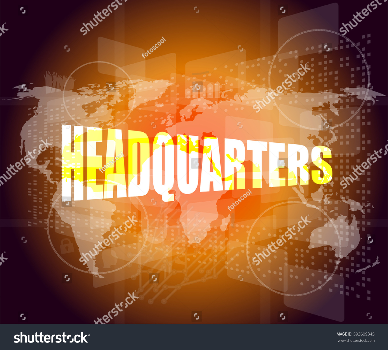 Headquarters words on digital screen background stock illustration headquarters words on digital screen background with world map gumiabroncs Choice Image