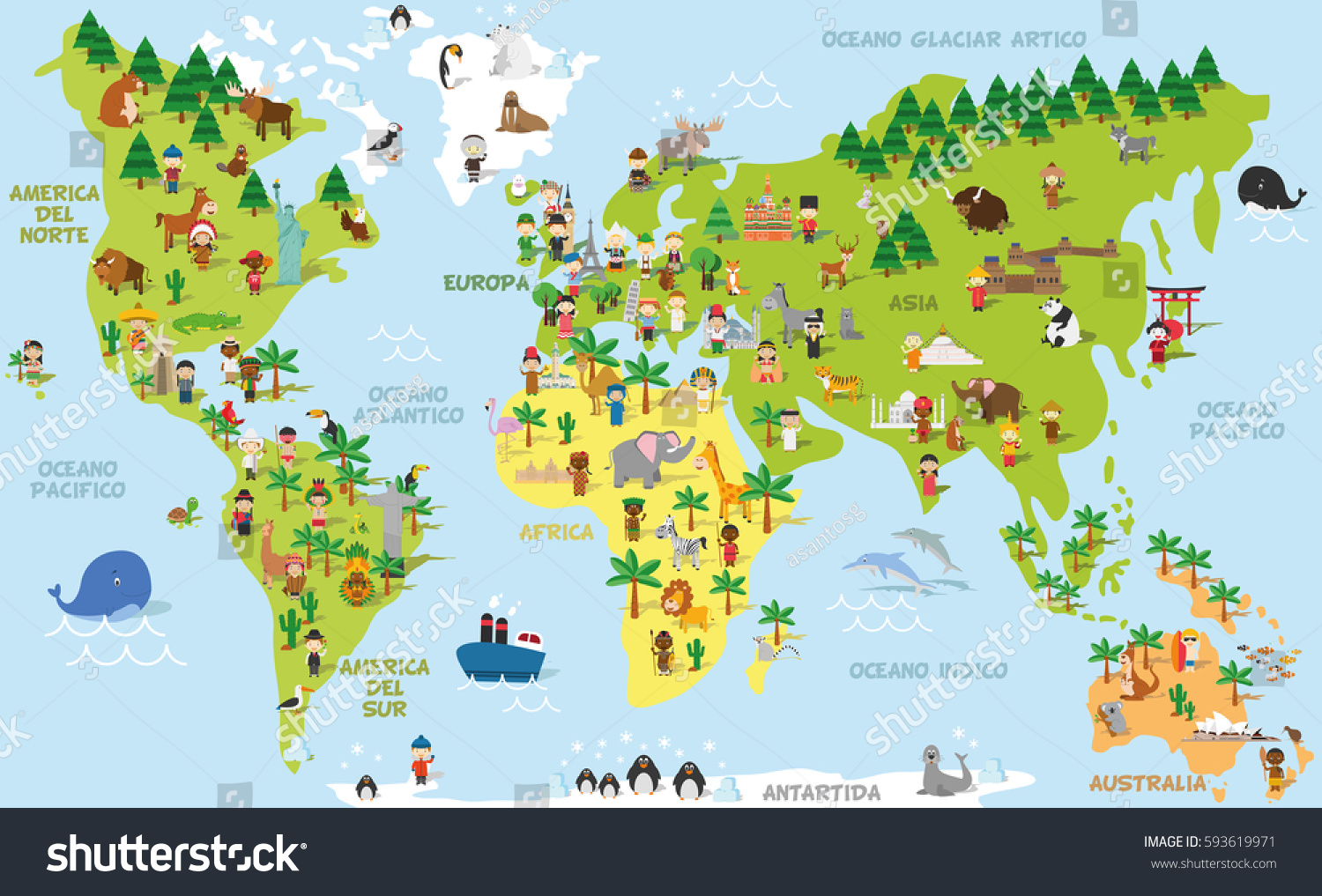 Funny Cartoon World Map Children Different Stock Vector - World map with names of continents and oceans